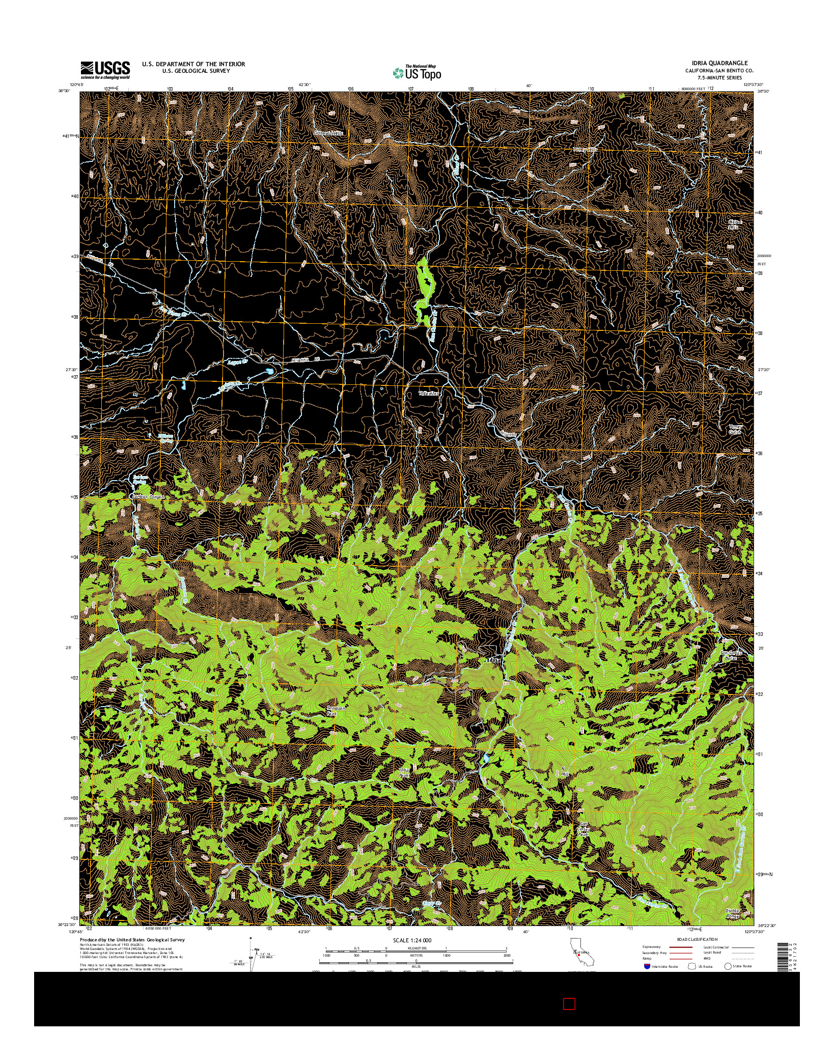 USGS US TOPO 7.5-MINUTE MAP FOR IDRIA, CA 2015