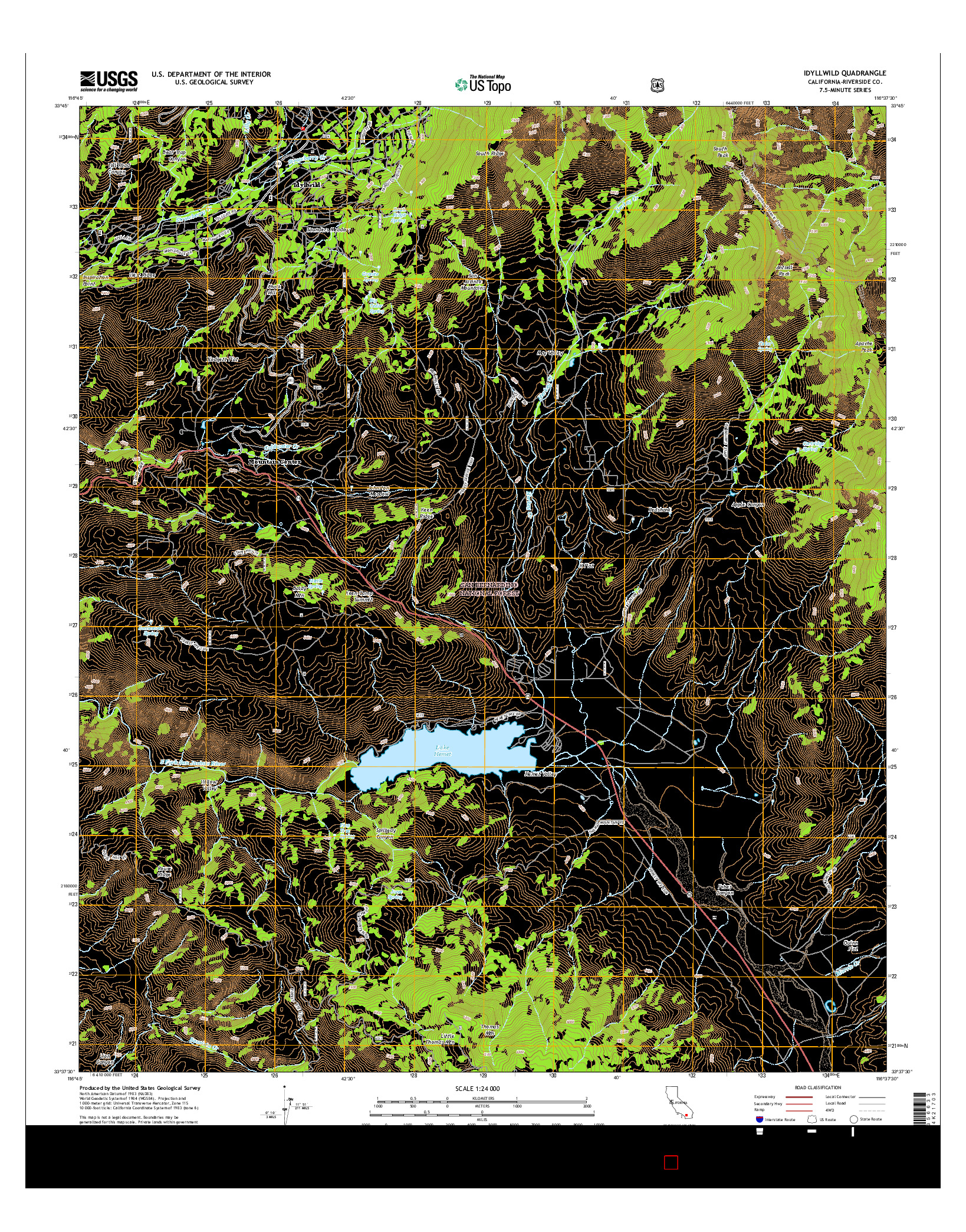 USGS US TOPO 7.5-MINUTE MAP FOR IDYLLWILD, CA 2015