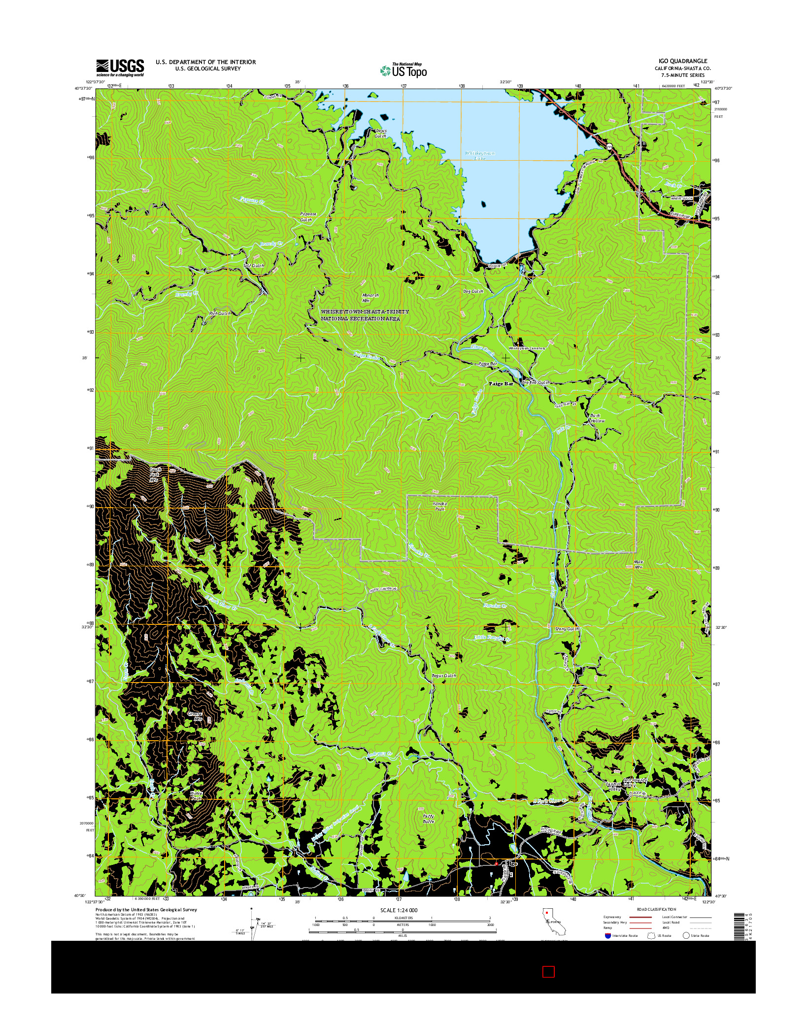 USGS US TOPO 7.5-MINUTE MAP FOR IGO, CA 2015