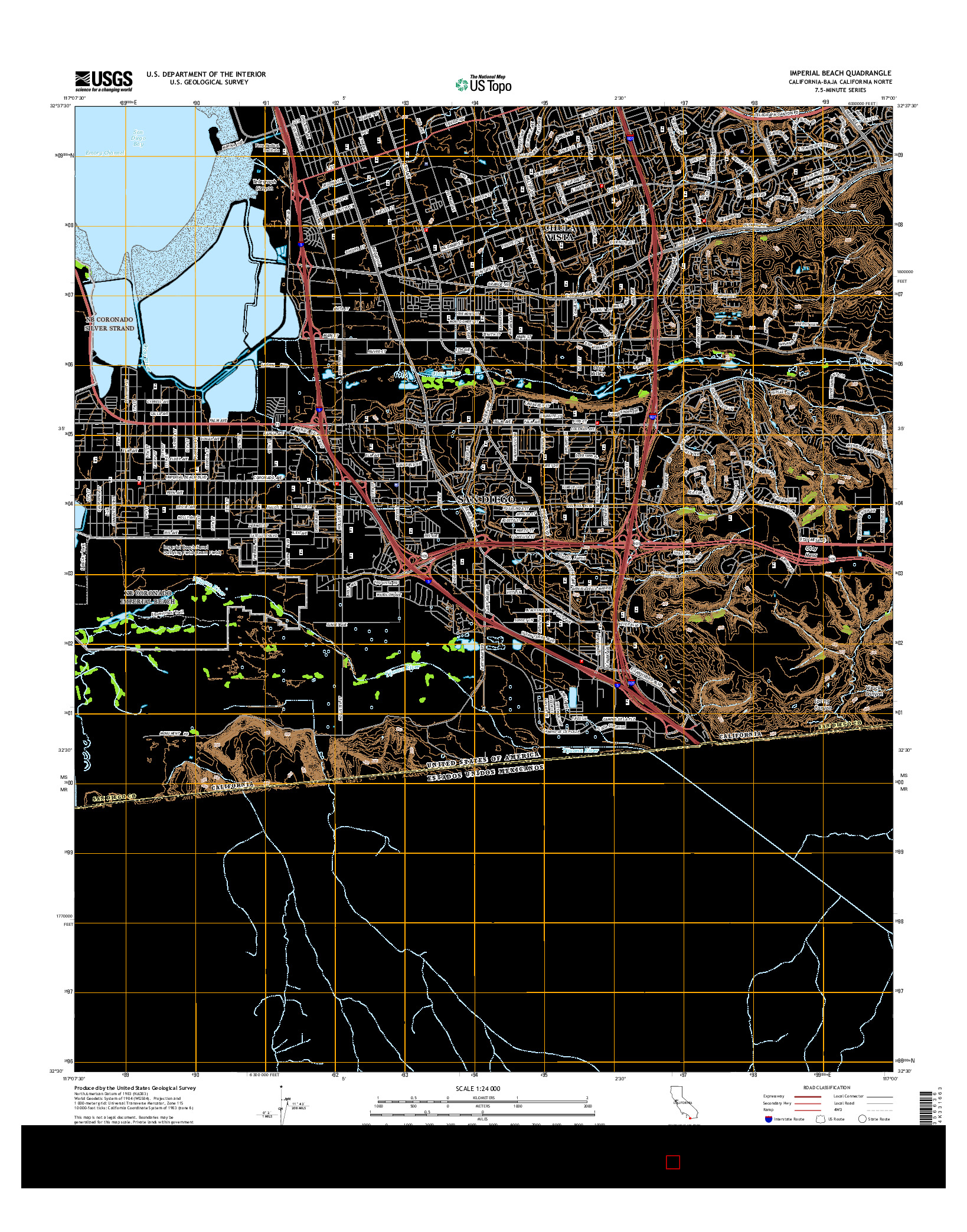 USGS US TOPO 7.5-MINUTE MAP FOR IMPERIAL BEACH, CA-BCN 2015