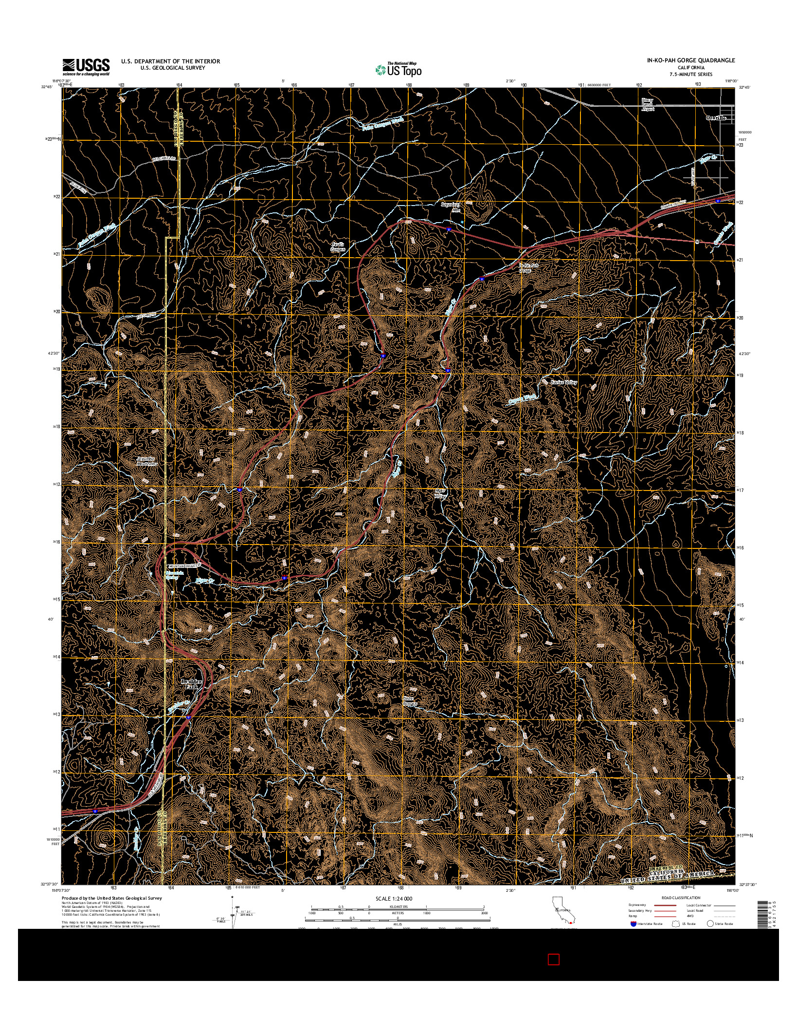 USGS US TOPO 7.5-MINUTE MAP FOR IN-KO-PAH GORGE, CA 2015