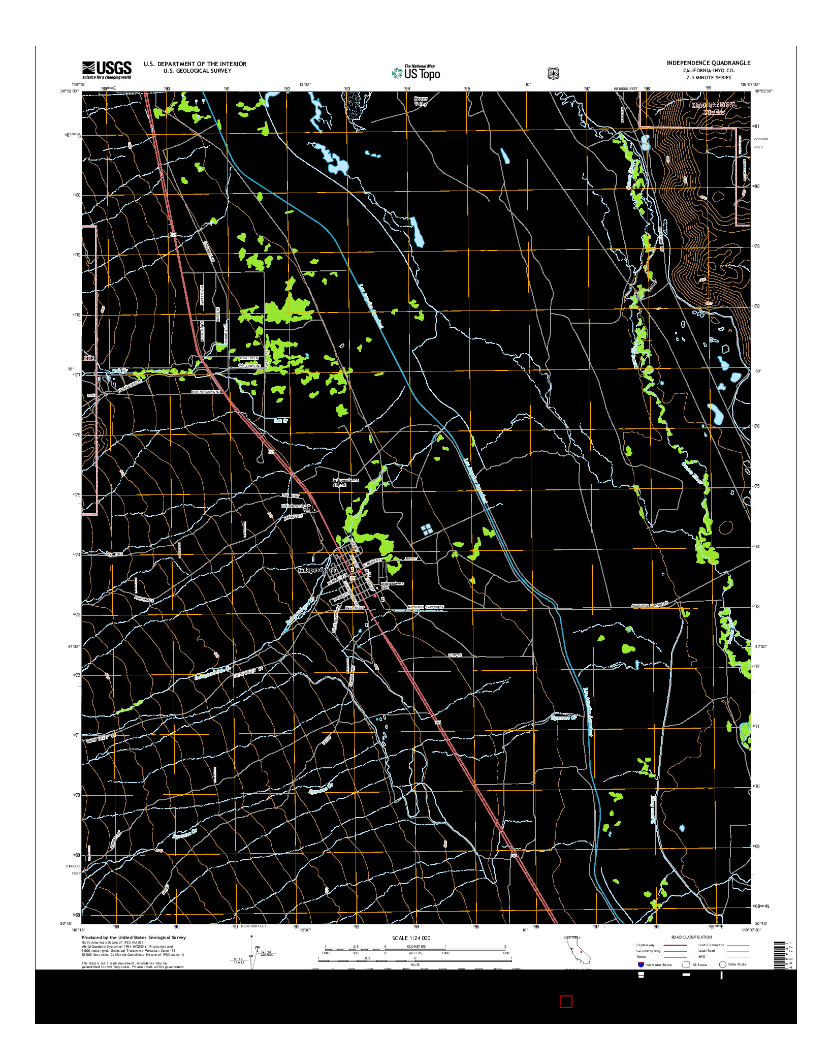 USGS US TOPO 7.5-MINUTE MAP FOR INDEPENDENCE, CA 2015