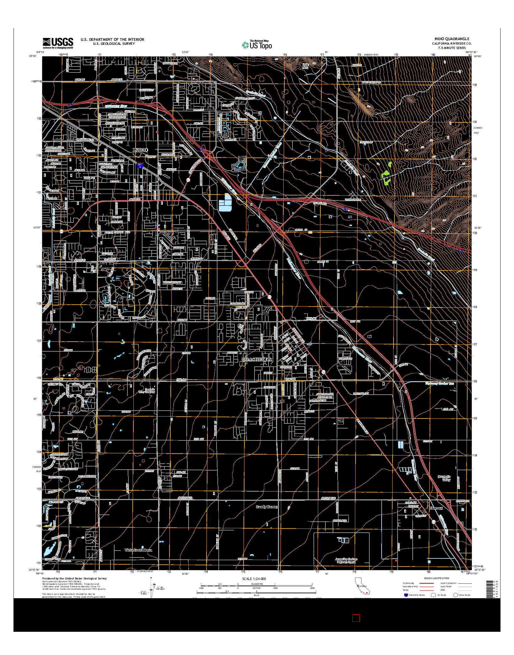 USGS US TOPO 7.5-MINUTE MAP FOR INDIO, CA 2015