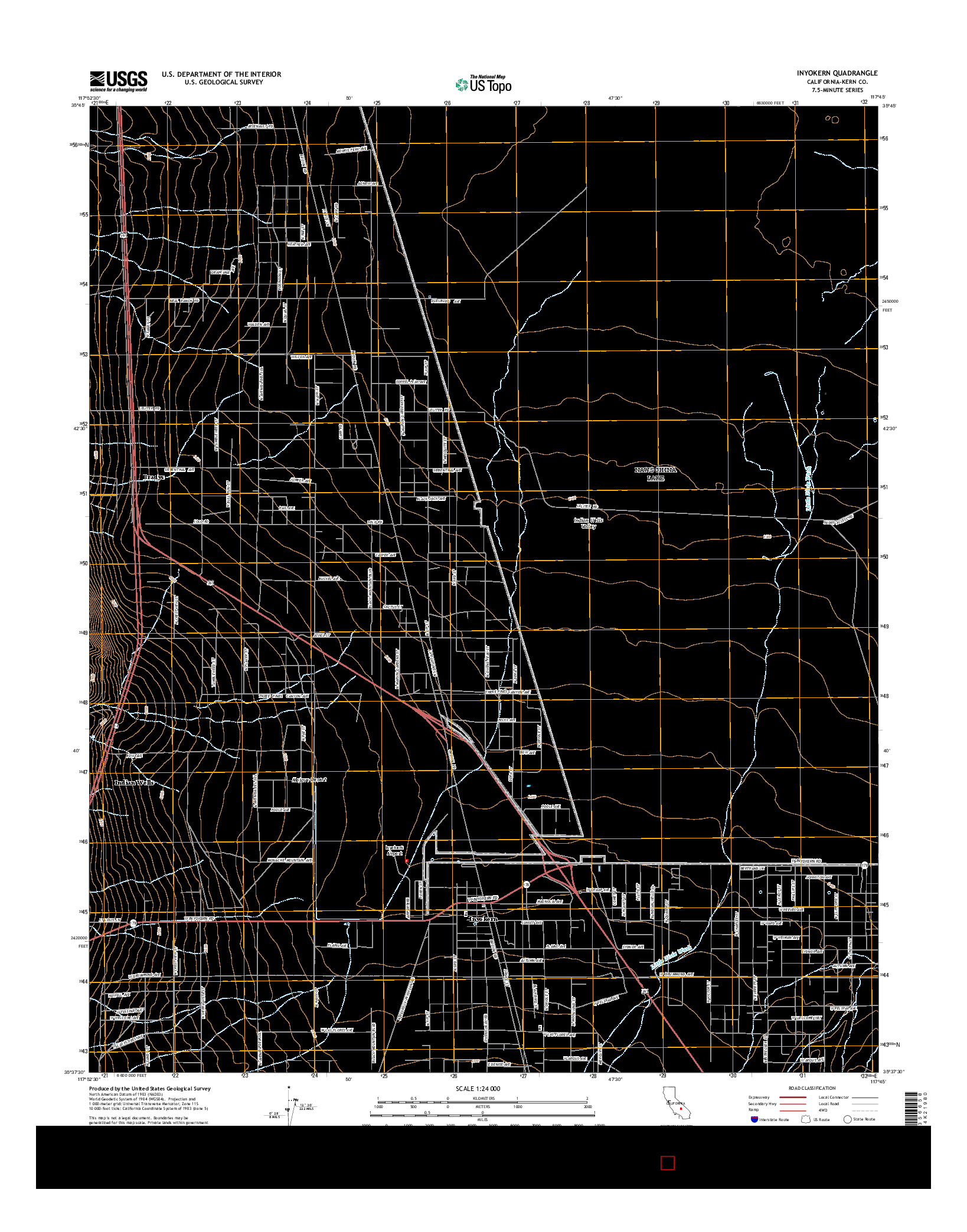 USGS US TOPO 7.5-MINUTE MAP FOR INYOKERN, CA 2015