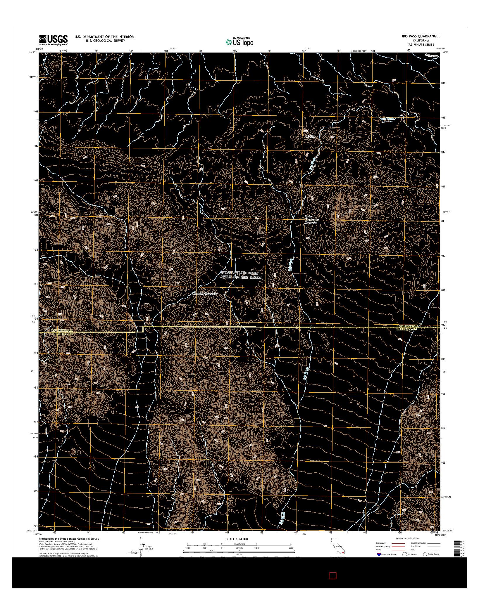 USGS US TOPO 7.5-MINUTE MAP FOR IRIS PASS, CA 2015