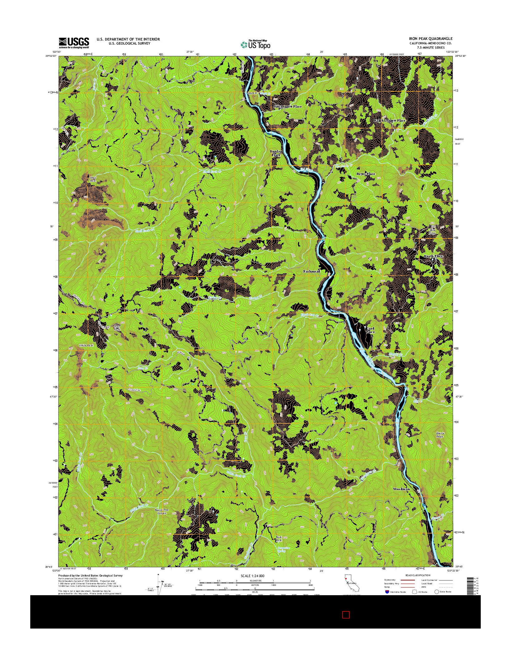 USGS US TOPO 7.5-MINUTE MAP FOR IRON PEAK, CA 2015