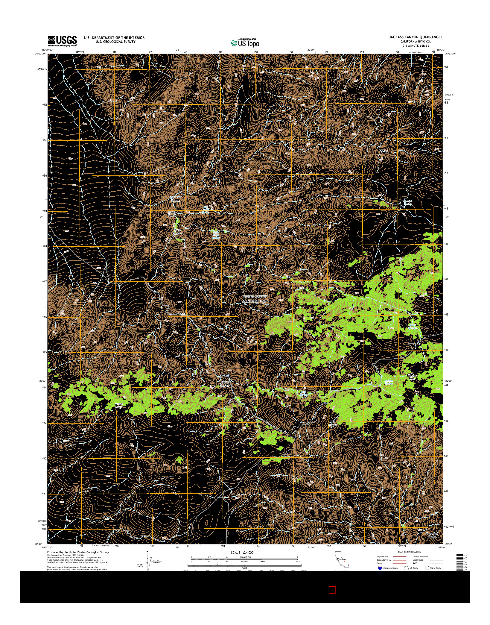 USGS US TOPO 7.5-MINUTE MAP FOR JACKASS CANYON, CA 2015