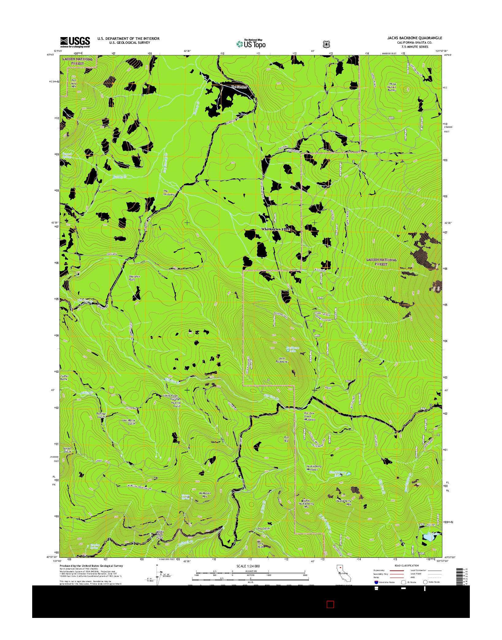 USGS US TOPO 7.5-MINUTE MAP FOR JACKS BACKBONE, CA 2015