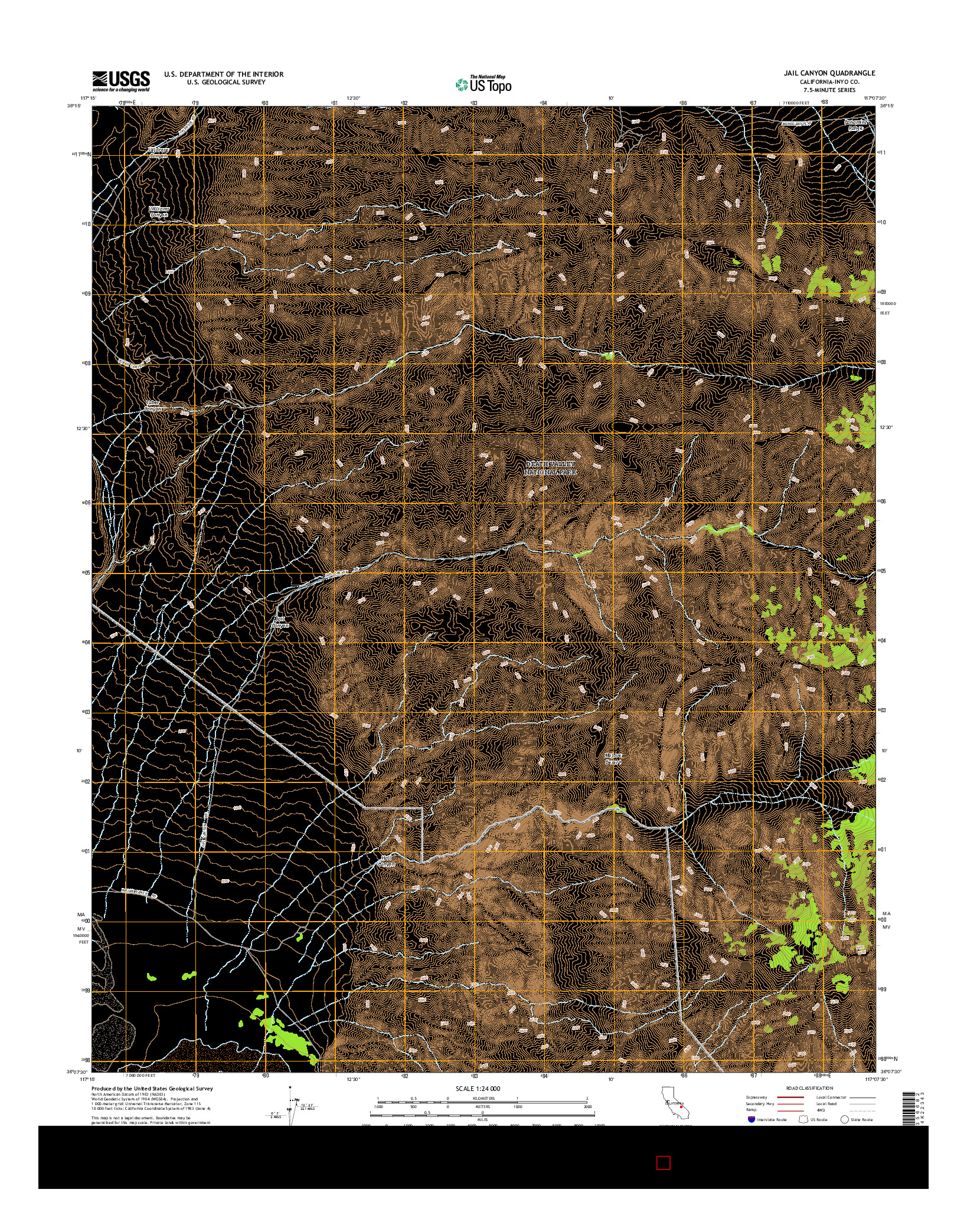 USGS US TOPO 7.5-MINUTE MAP FOR JAIL CANYON, CA 2015