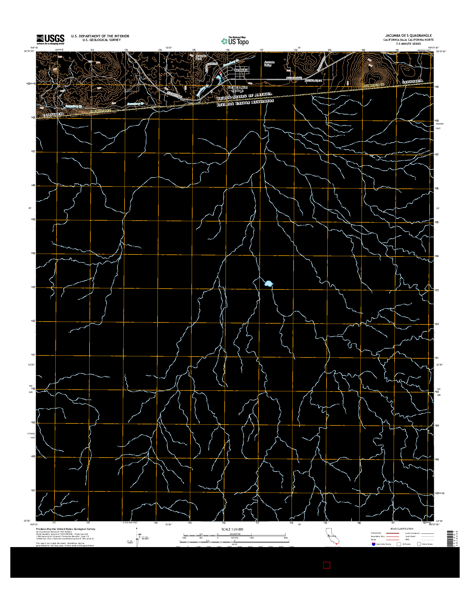 USGS US TOPO 7.5-MINUTE MAP FOR JACUMBA OE S, CA-BCN 2015