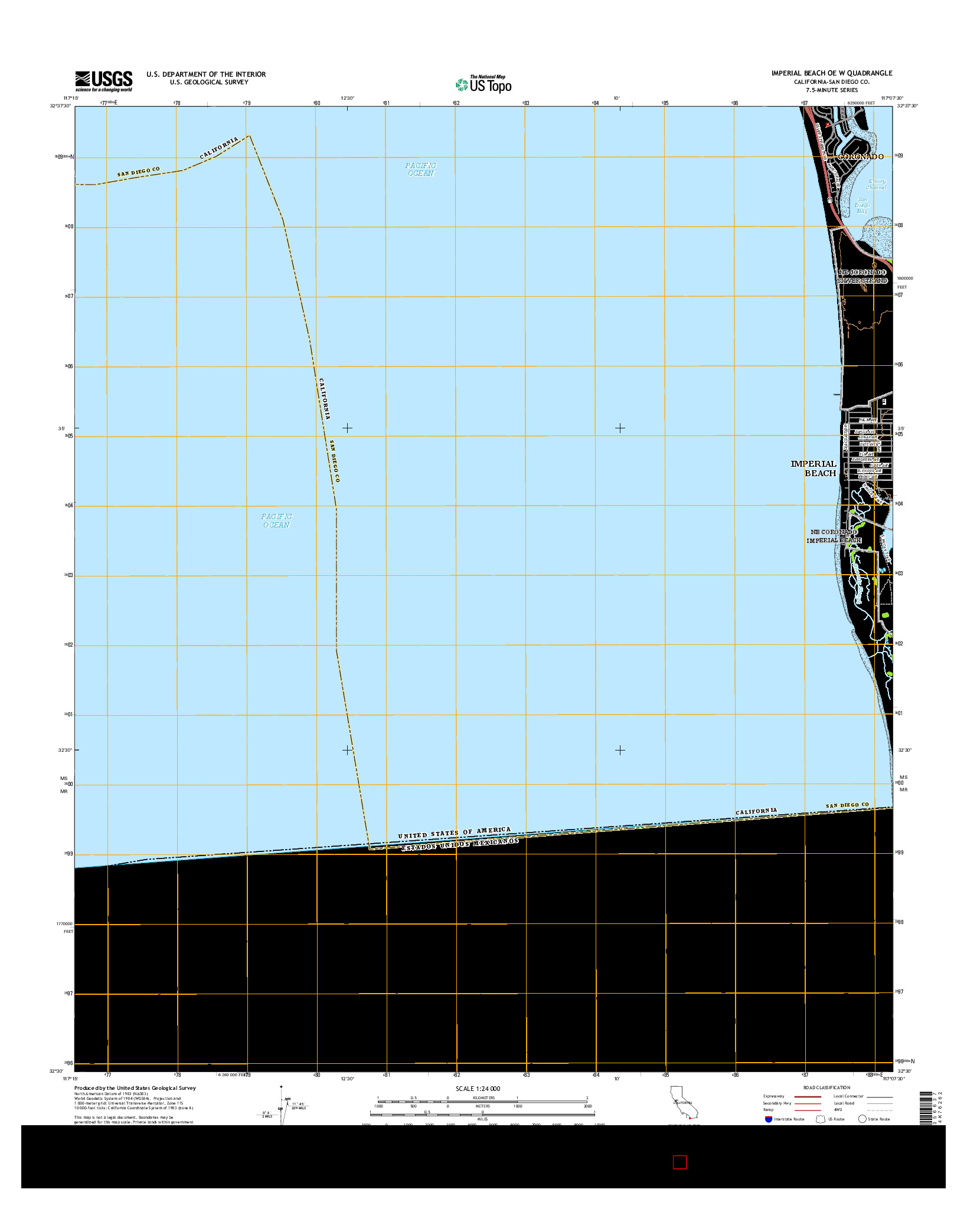 USGS US TOPO 7.5-MINUTE MAP FOR IMPERIAL BEACH OE W, CA 2015