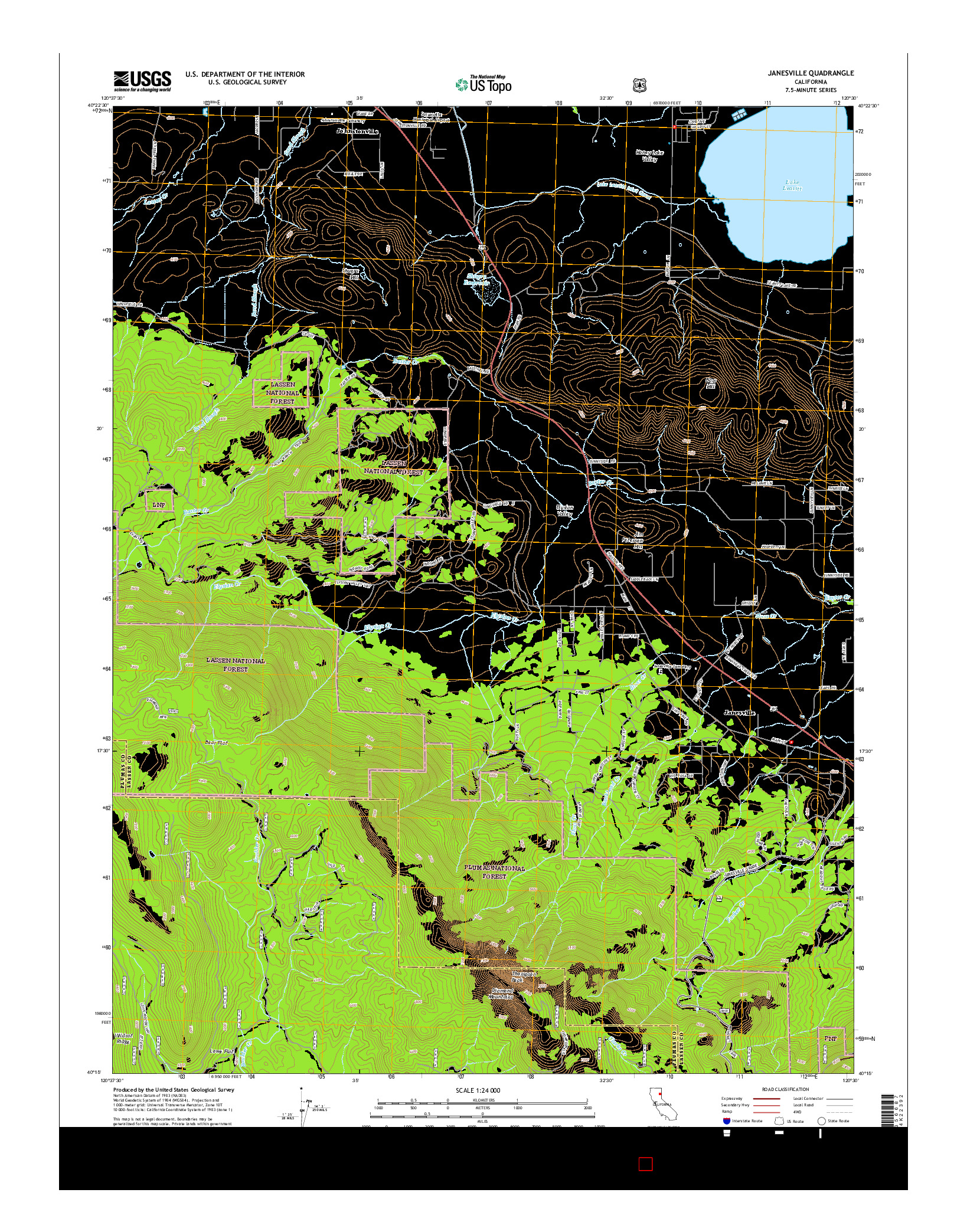 USGS US TOPO 7.5-MINUTE MAP FOR JANESVILLE, CA 2015