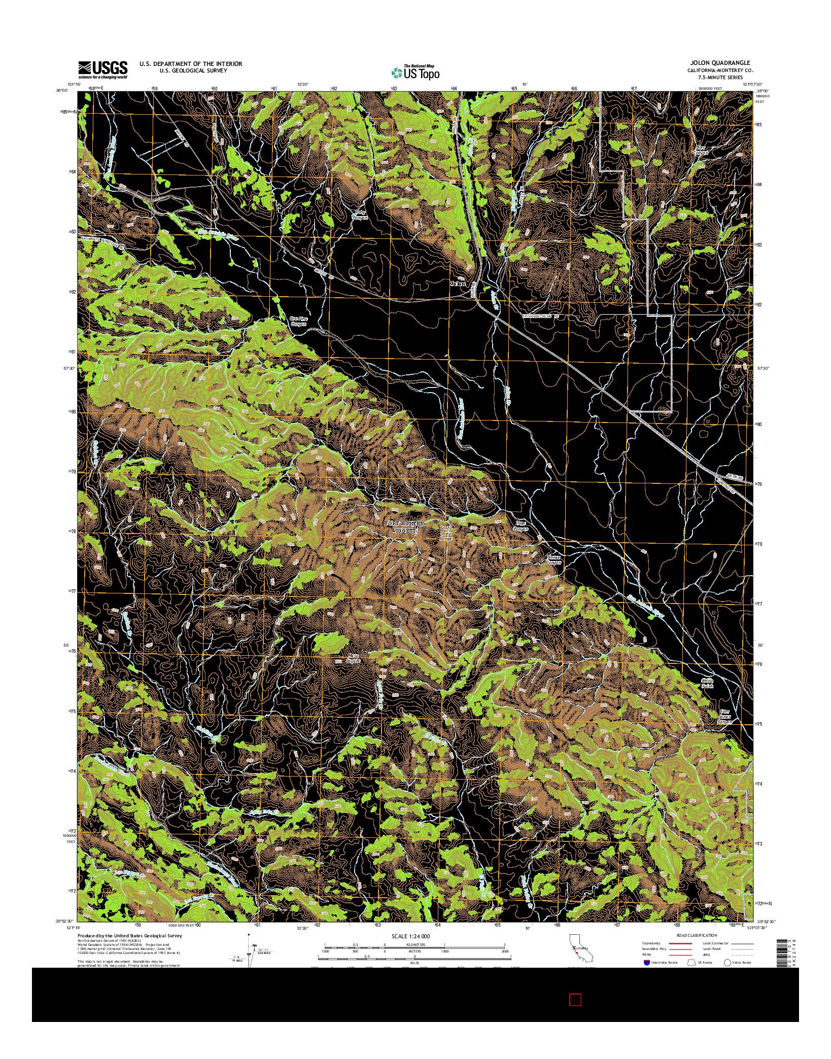 USGS US TOPO 7.5-MINUTE MAP FOR JOLON, CA 2015