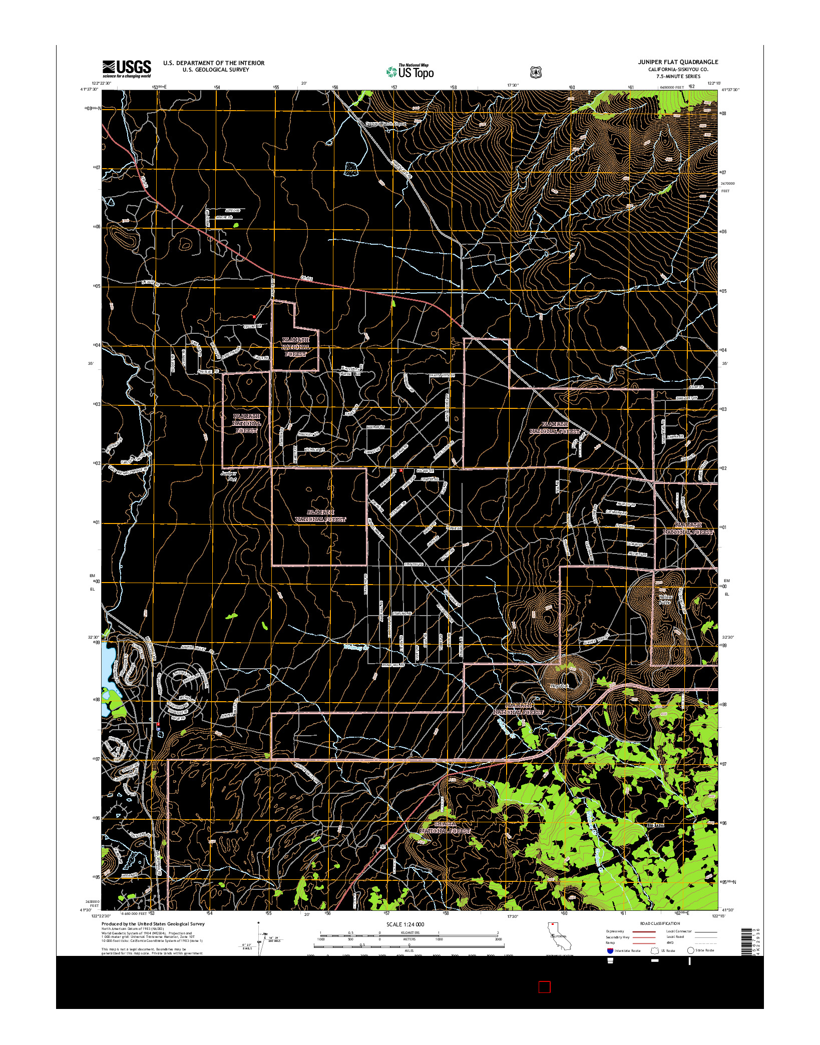 USGS US TOPO 7.5-MINUTE MAP FOR JUNIPER FLAT, CA 2015