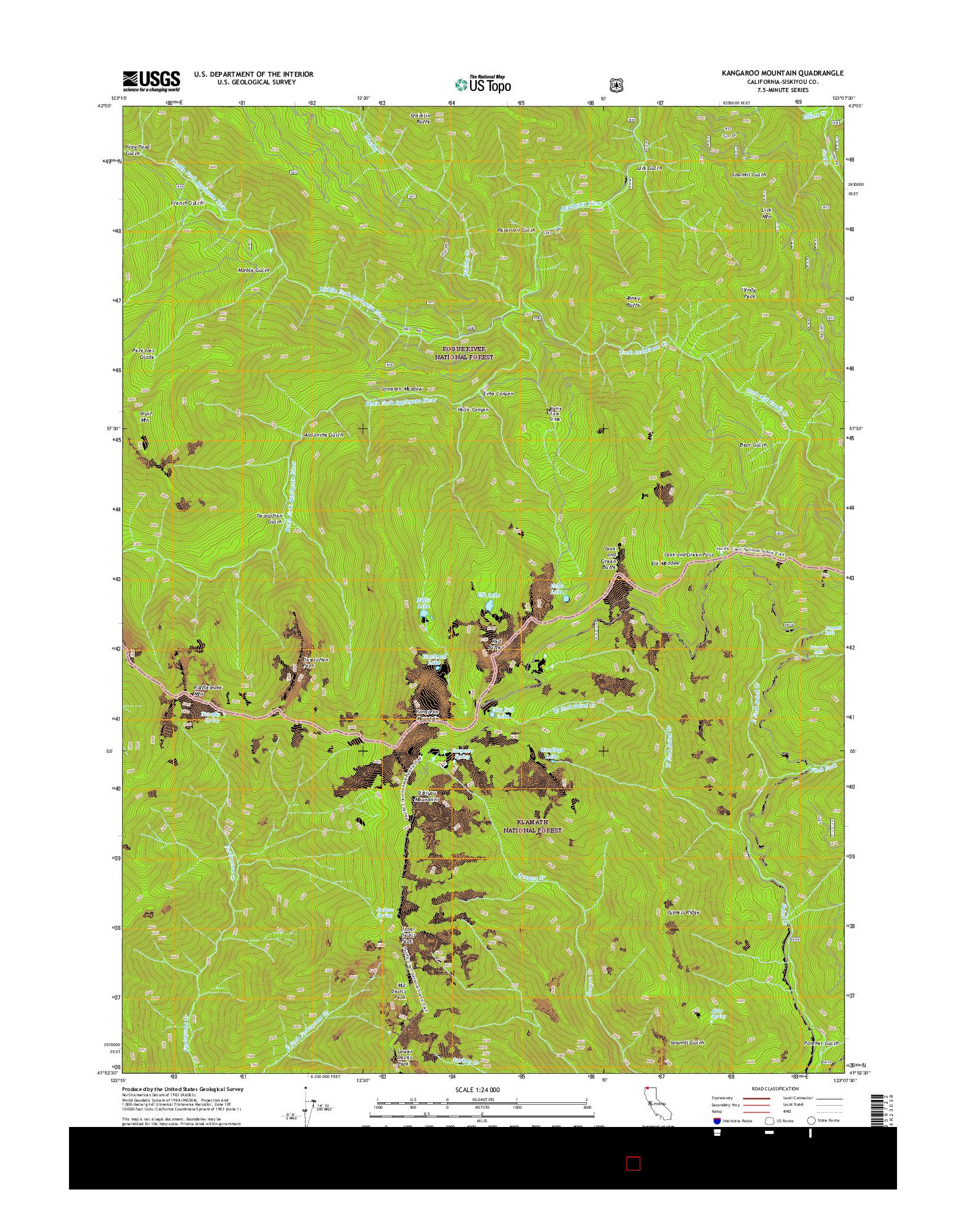 USGS US TOPO 7.5-MINUTE MAP FOR KANGAROO MOUNTAIN, CA 2015