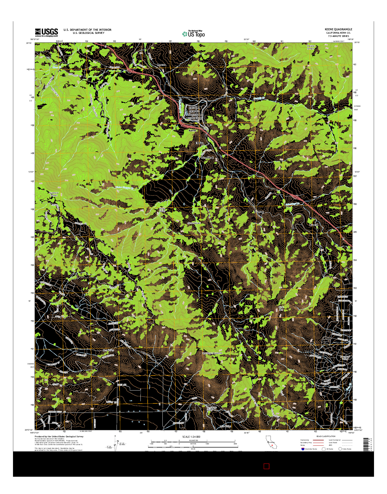 USGS US TOPO 7.5-MINUTE MAP FOR KEENE, CA 2015