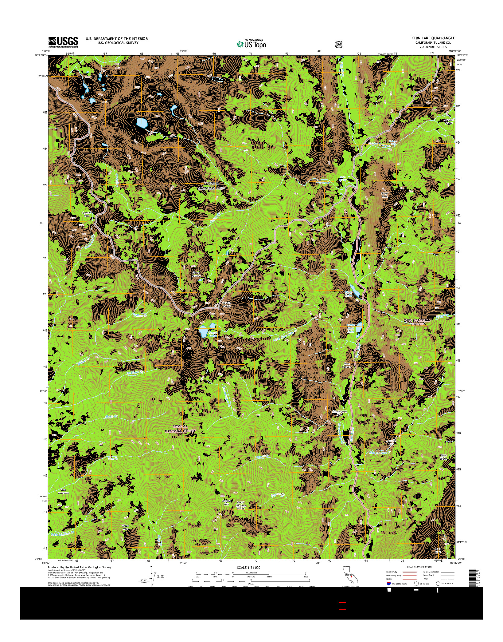 USGS US TOPO 7.5-MINUTE MAP FOR KERN LAKE, CA 2015