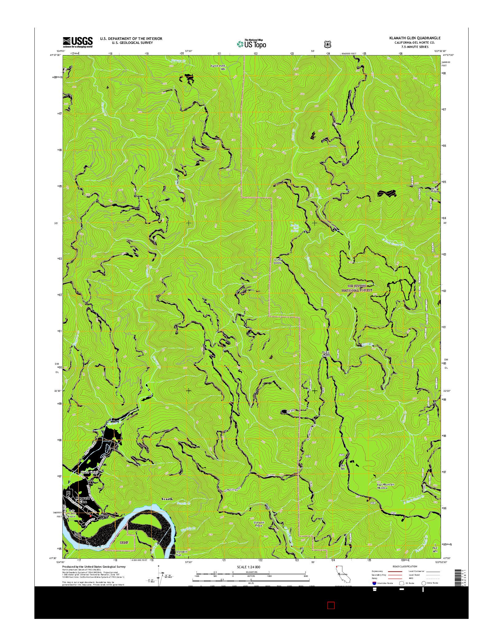USGS US TOPO 7.5-MINUTE MAP FOR KLAMATH GLEN, CA 2015
