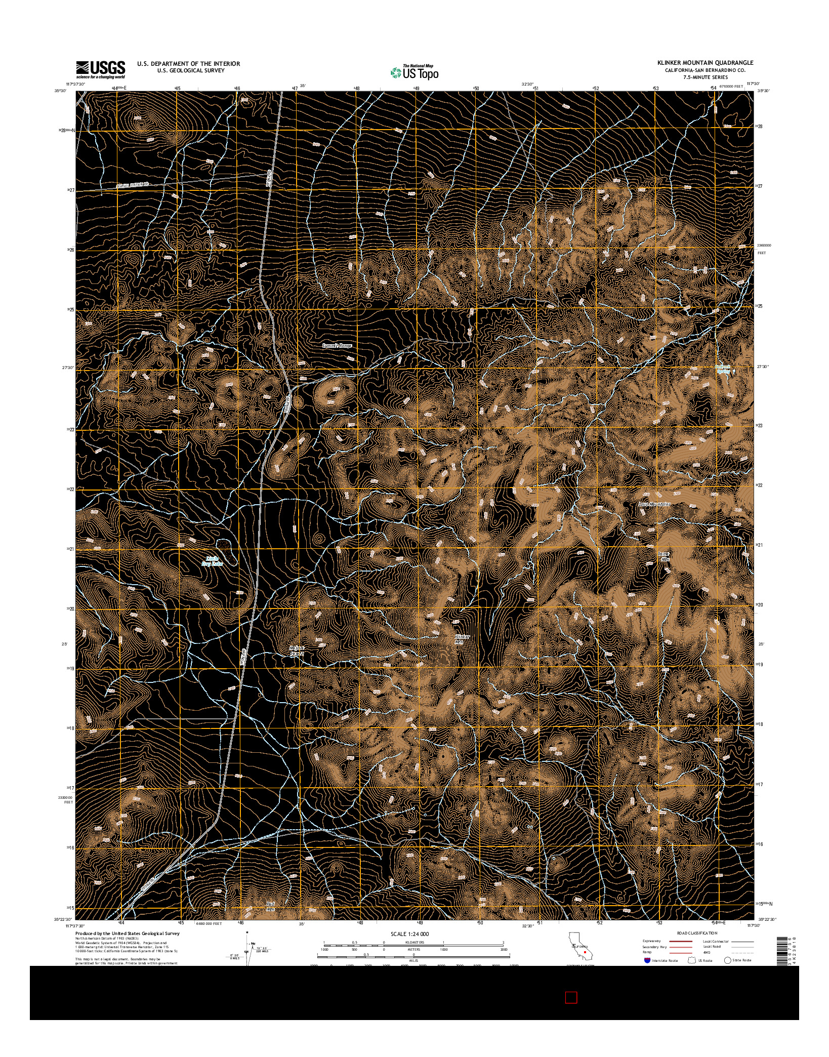 USGS US TOPO 7.5-MINUTE MAP FOR KLINKER MOUNTAIN, CA 2015