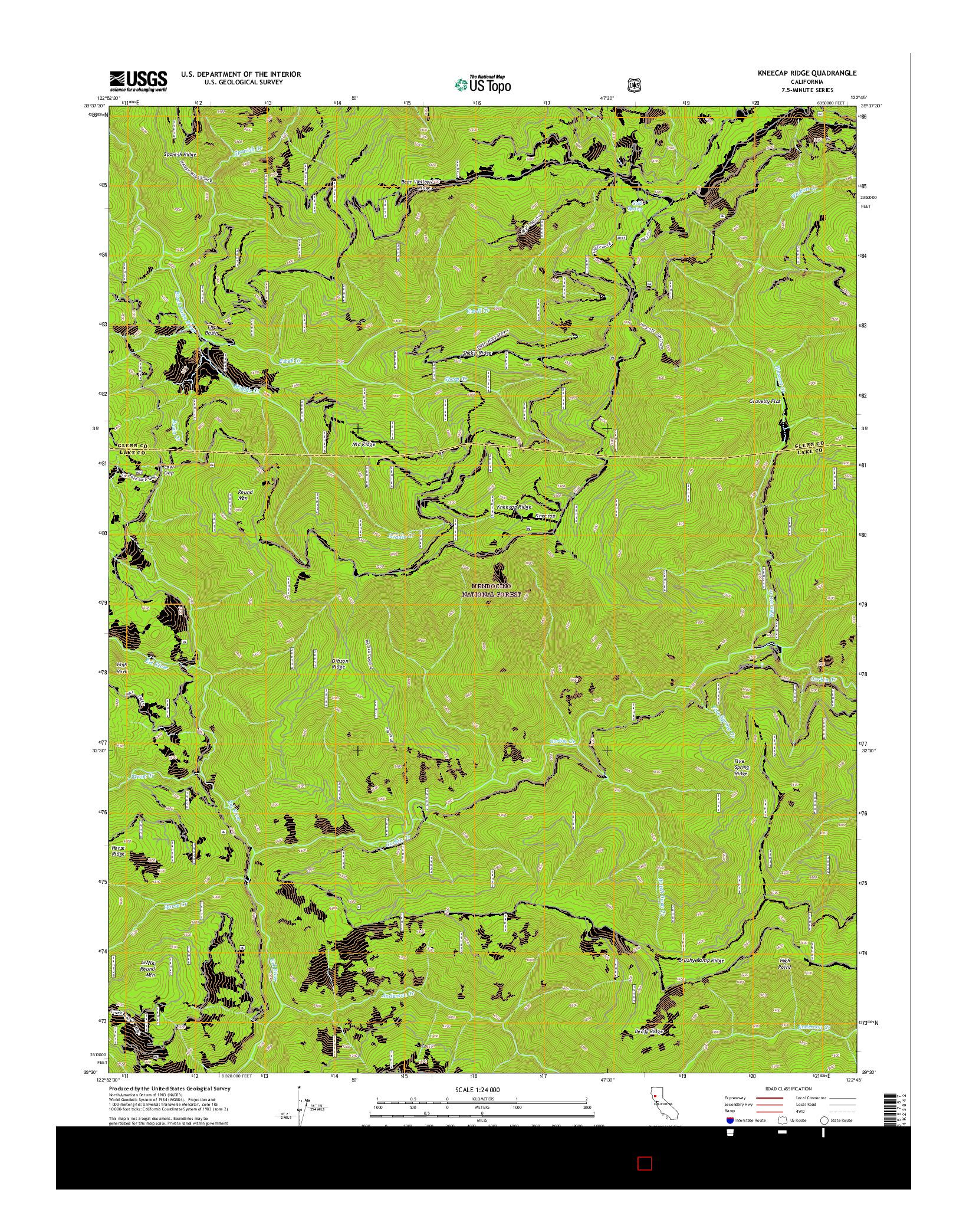 USGS US TOPO 7.5-MINUTE MAP FOR KNEECAP RIDGE, CA 2015