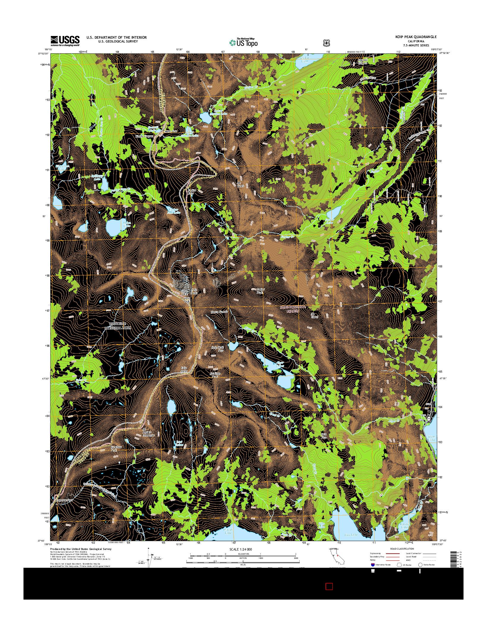 USGS US TOPO 7.5-MINUTE MAP FOR KOIP PEAK, CA 2015
