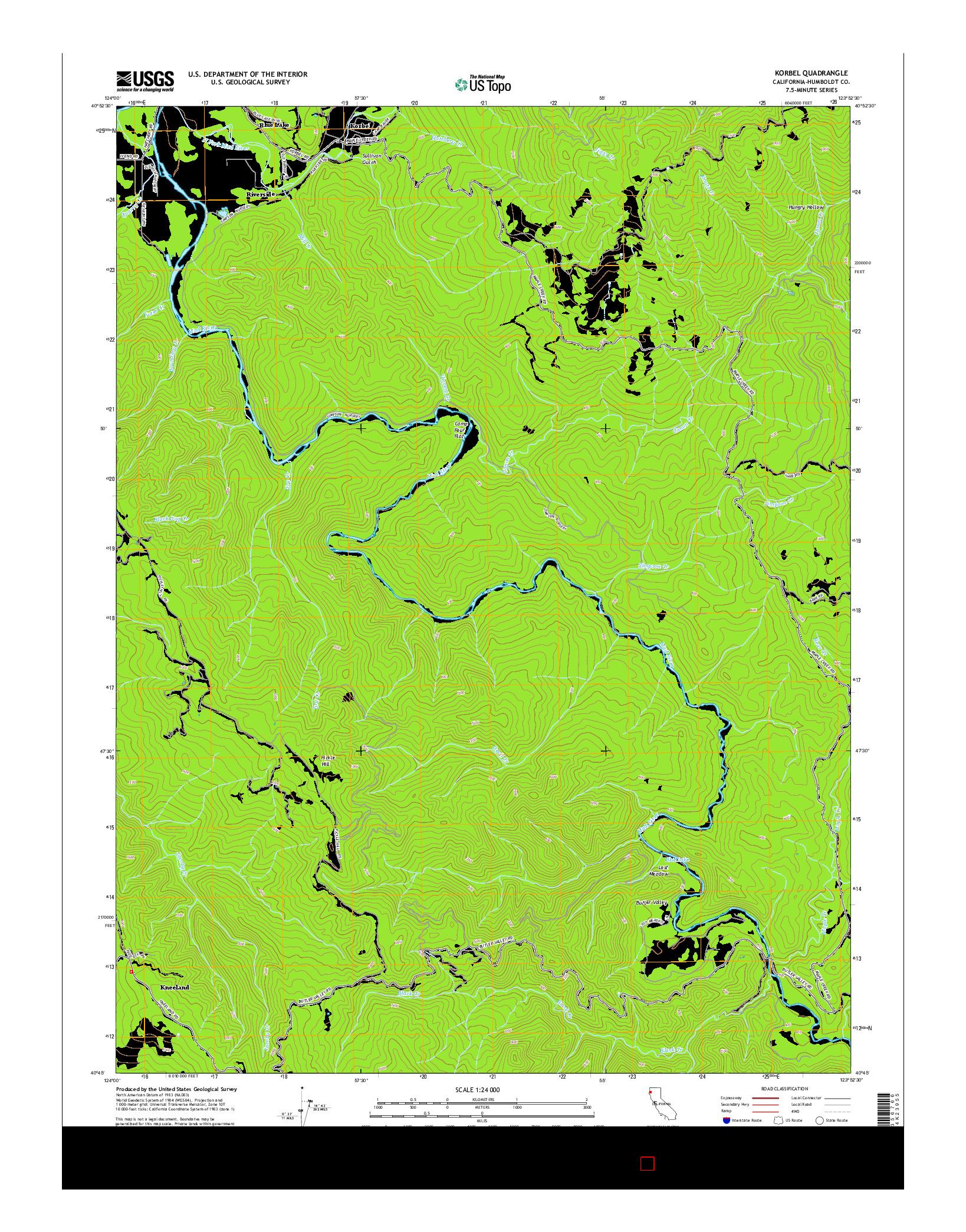 USGS US TOPO 7.5-MINUTE MAP FOR KORBEL, CA 2015