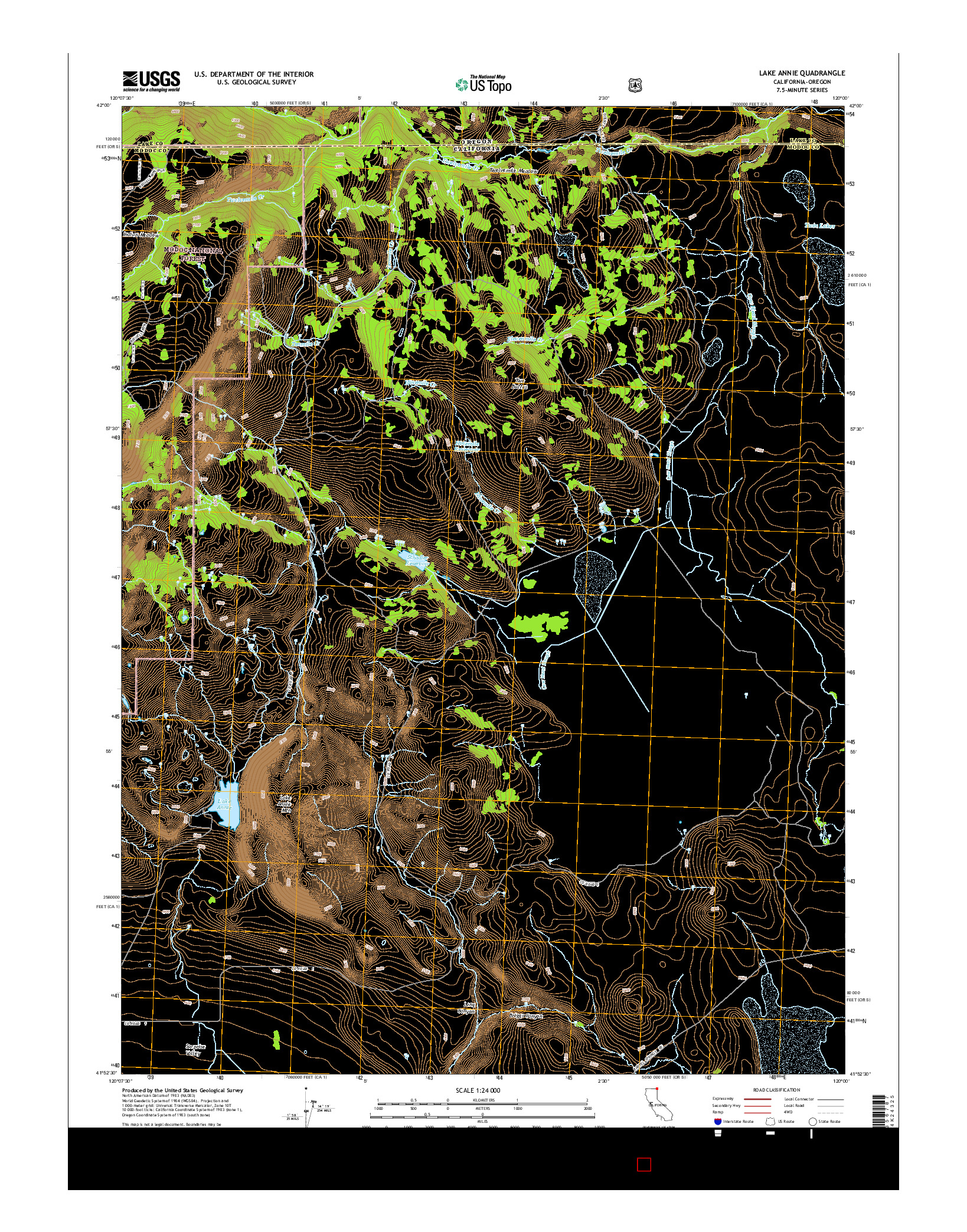 USGS US TOPO 7.5-MINUTE MAP FOR LAKE ANNIE, CA-OR 2015