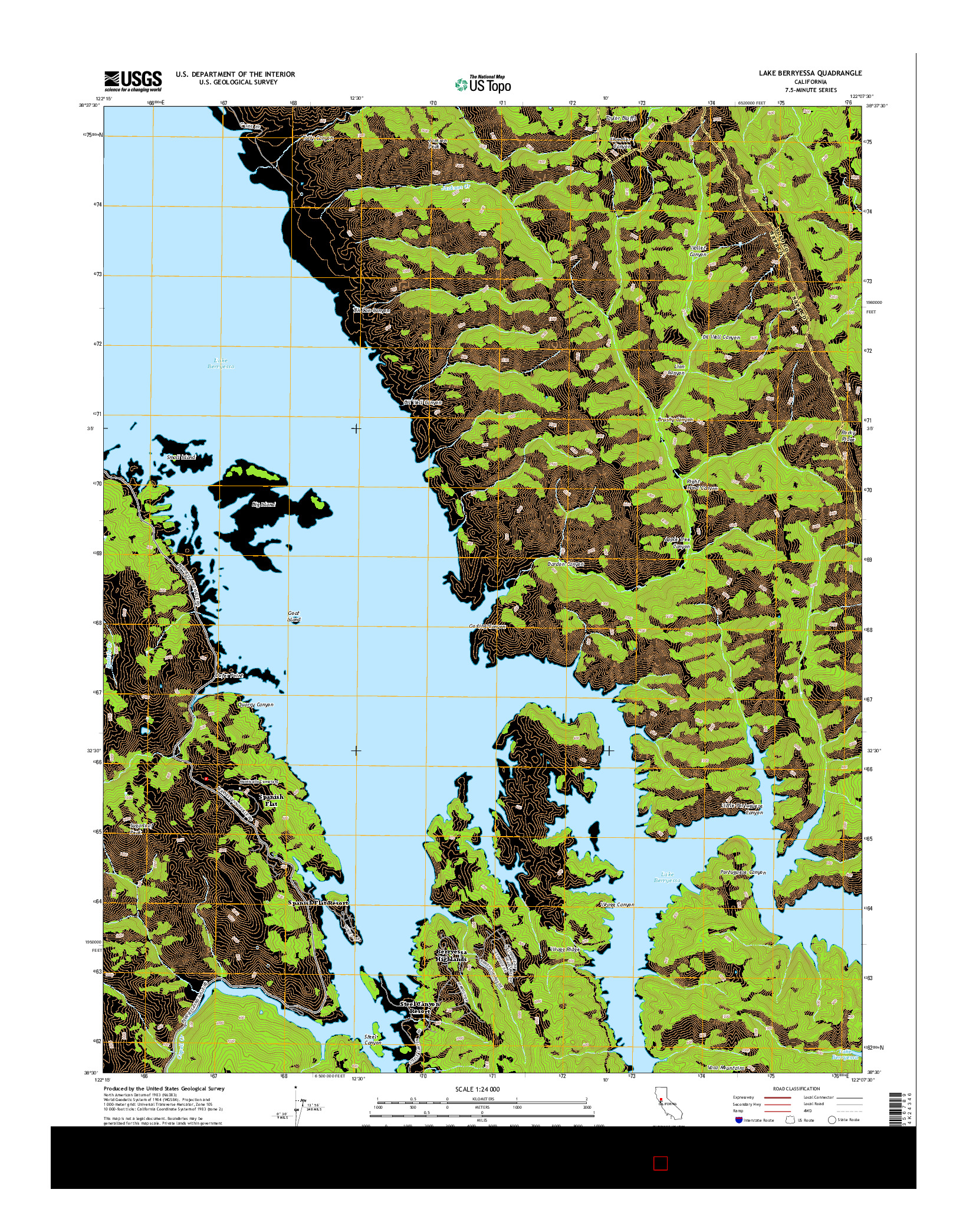USGS US TOPO 7.5-MINUTE MAP FOR LAKE BERRYESSA, CA 2015