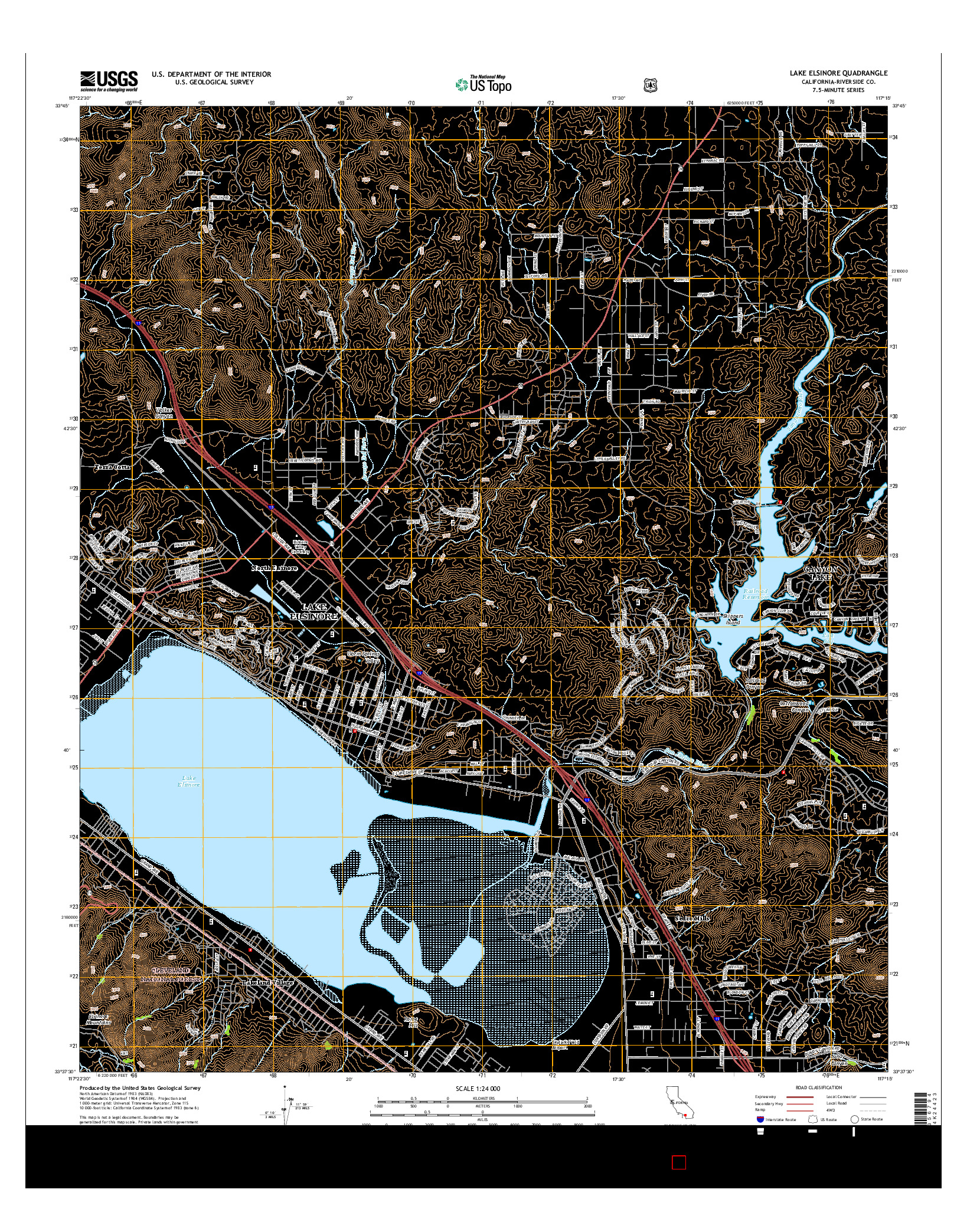 USGS US TOPO 7.5-MINUTE MAP FOR LAKE ELSINORE, CA 2015