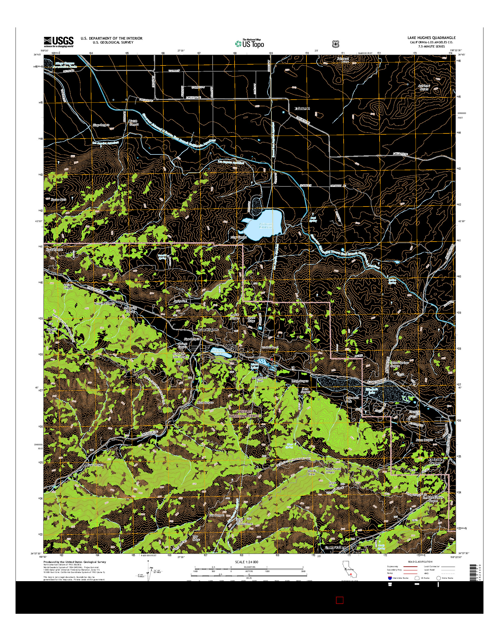 USGS US TOPO 7.5-MINUTE MAP FOR LAKE HUGHES, CA 2015