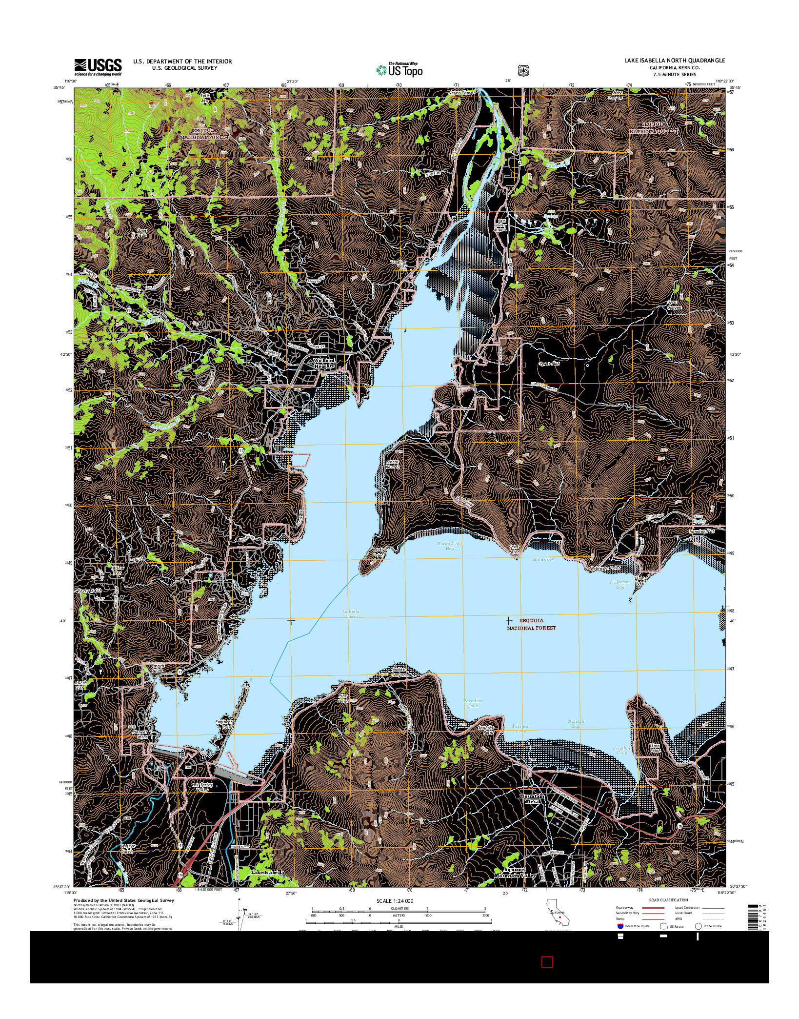 USGS US TOPO 7.5-MINUTE MAP FOR LAKE ISABELLA NORTH, CA 2015