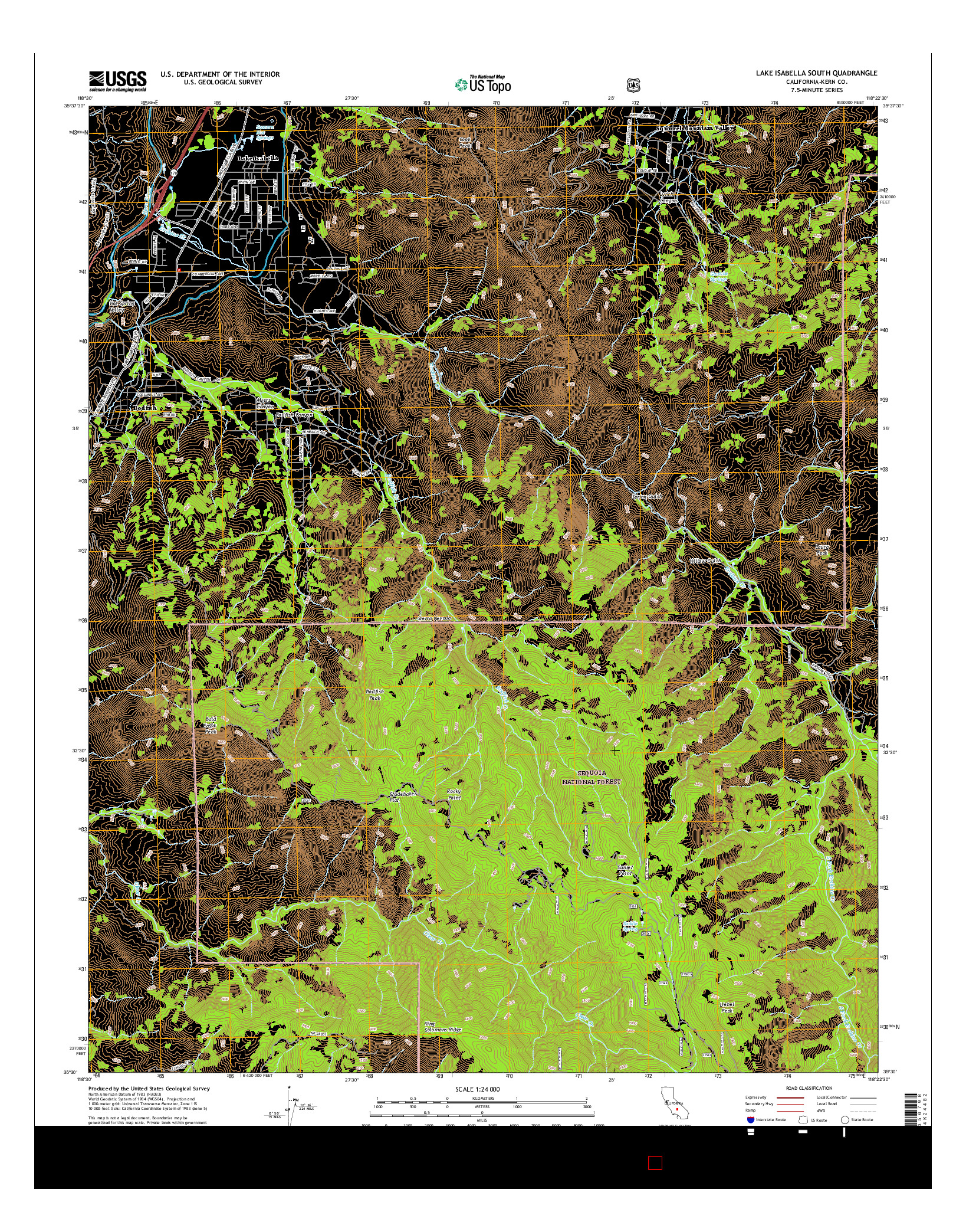 USGS US TOPO 7.5-MINUTE MAP FOR LAKE ISABELLA SOUTH, CA 2015