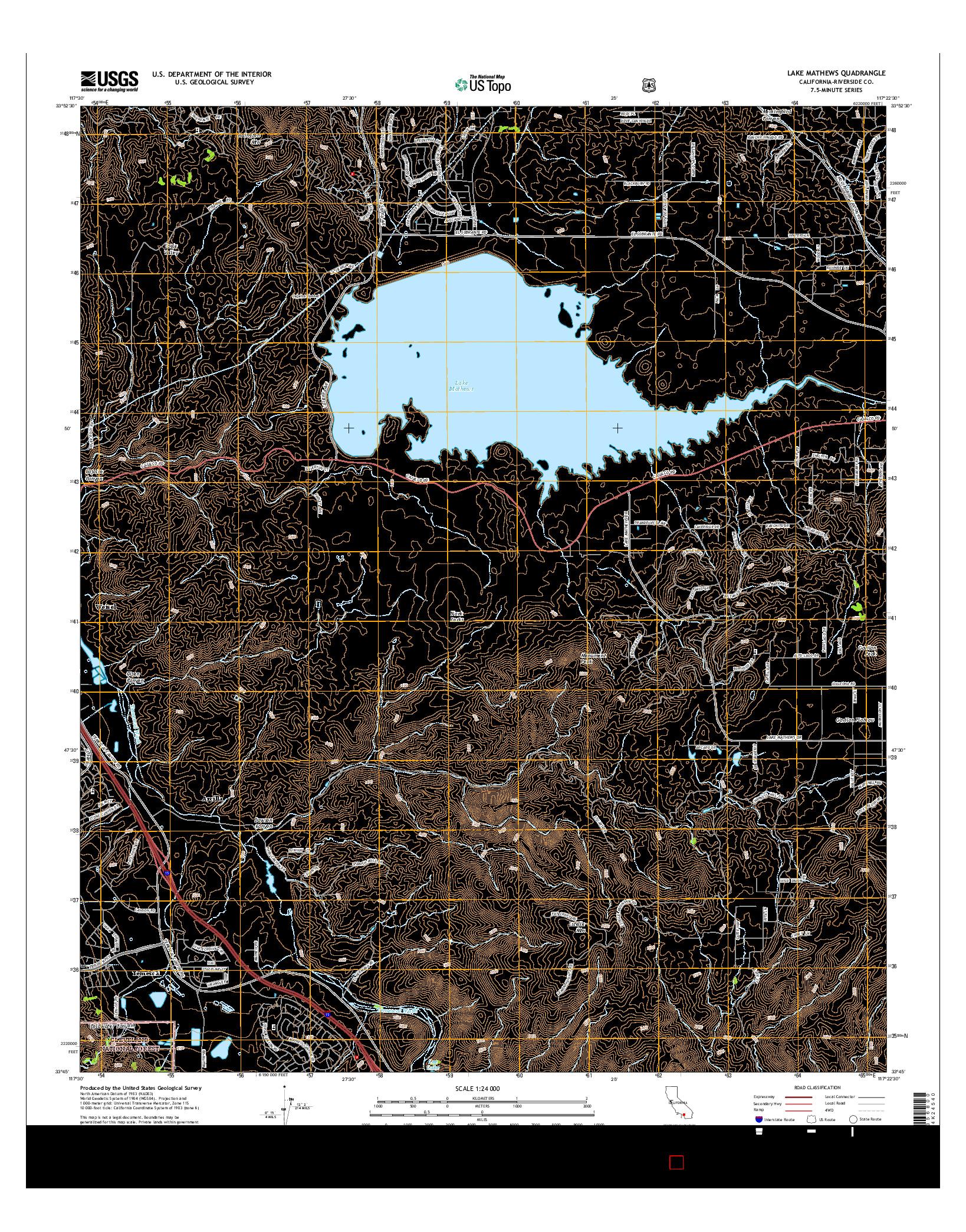 USGS US TOPO 7.5-MINUTE MAP FOR LAKE MATHEWS, CA 2015