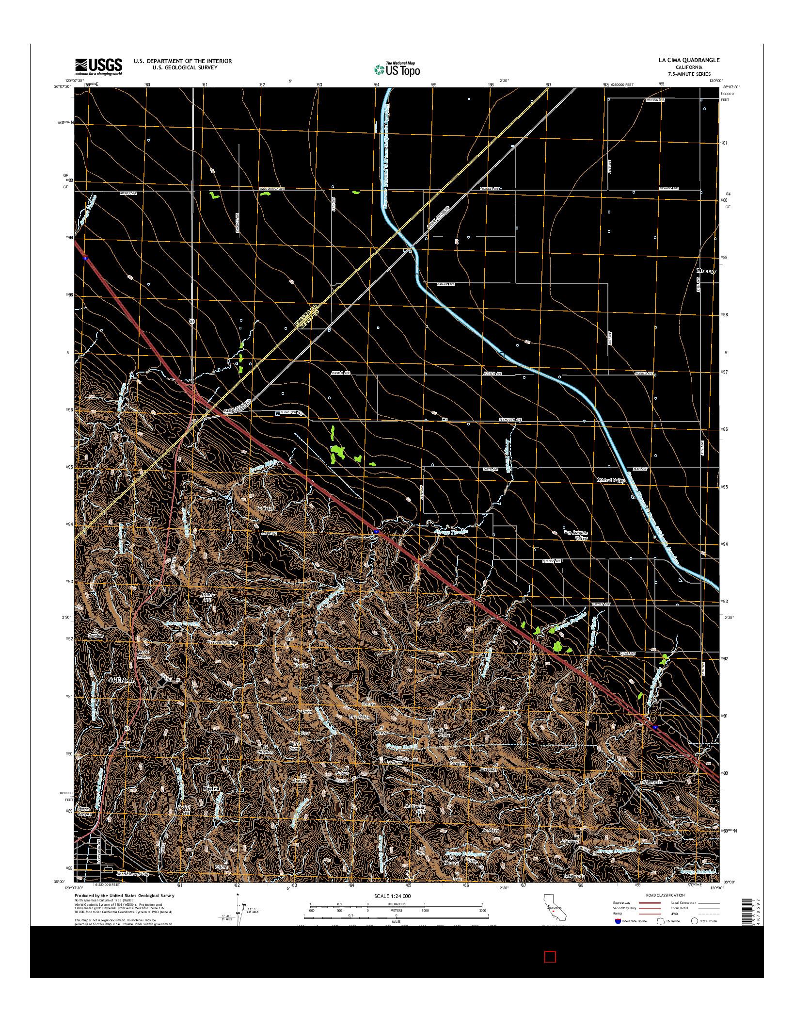 USGS US TOPO 7.5-MINUTE MAP FOR LA CIMA, CA 2015