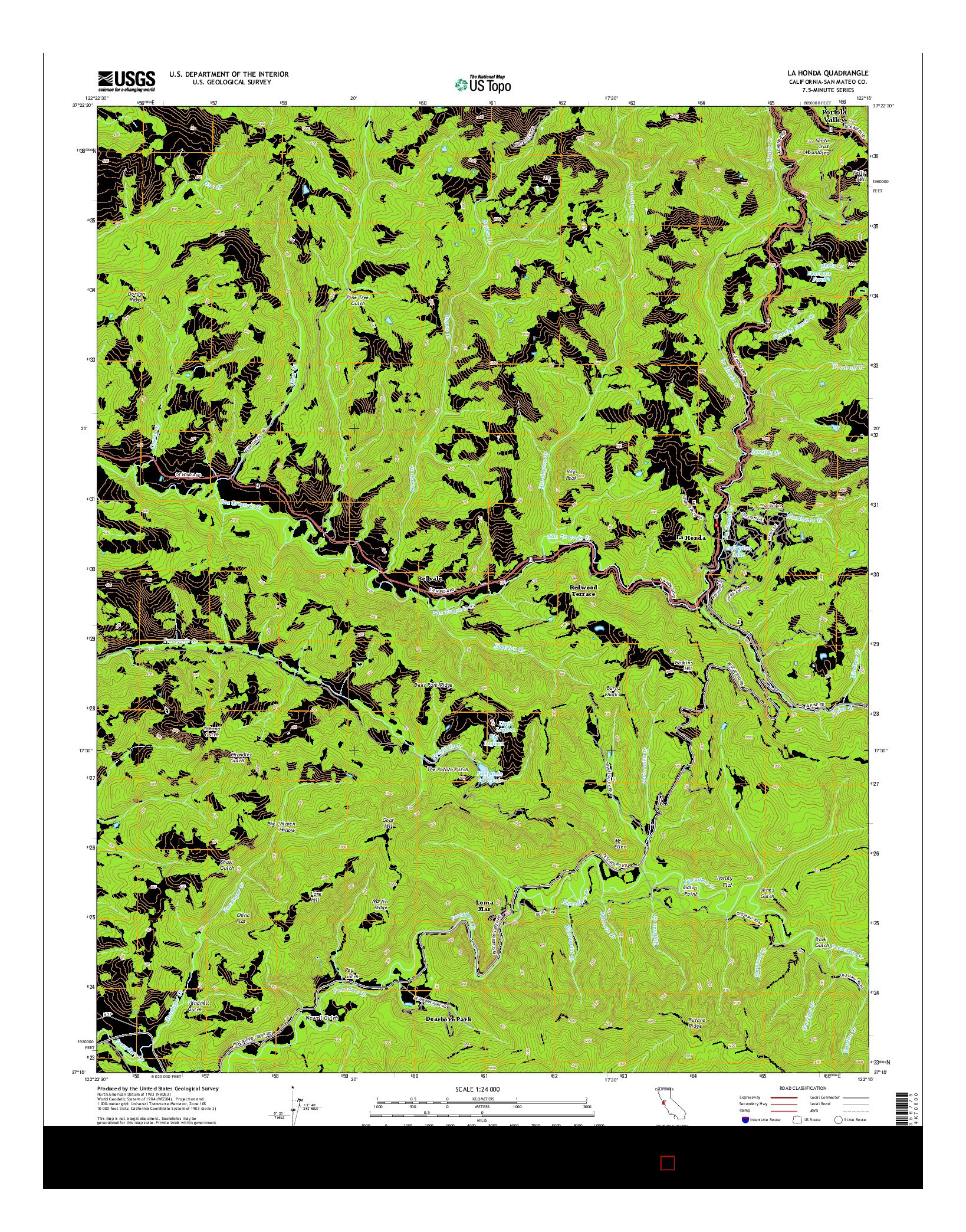 USGS US TOPO 7.5-MINUTE MAP FOR LA HONDA, CA 2015