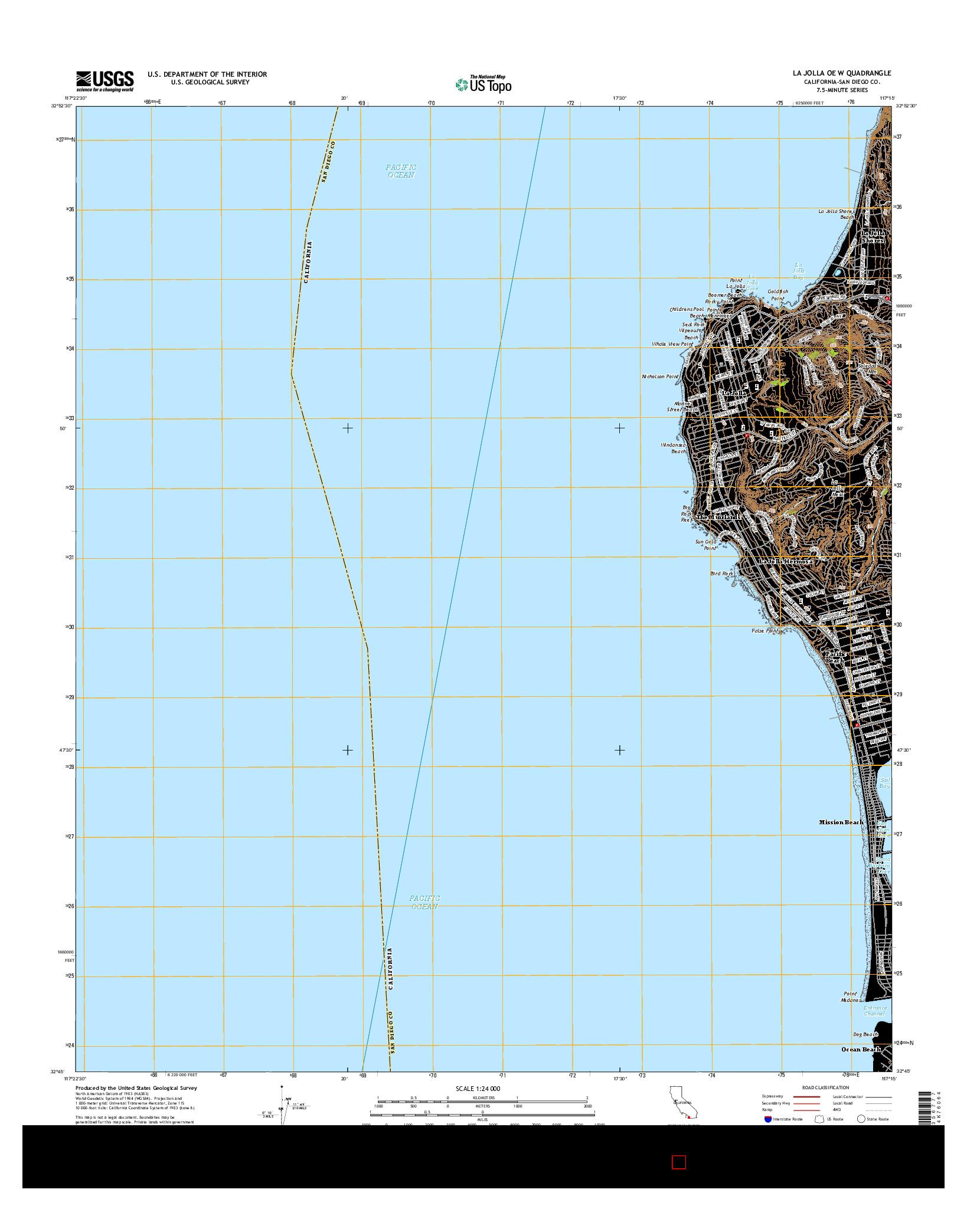 USGS US TOPO 7.5-MINUTE MAP FOR LA JOLLA OE W, CA 2015