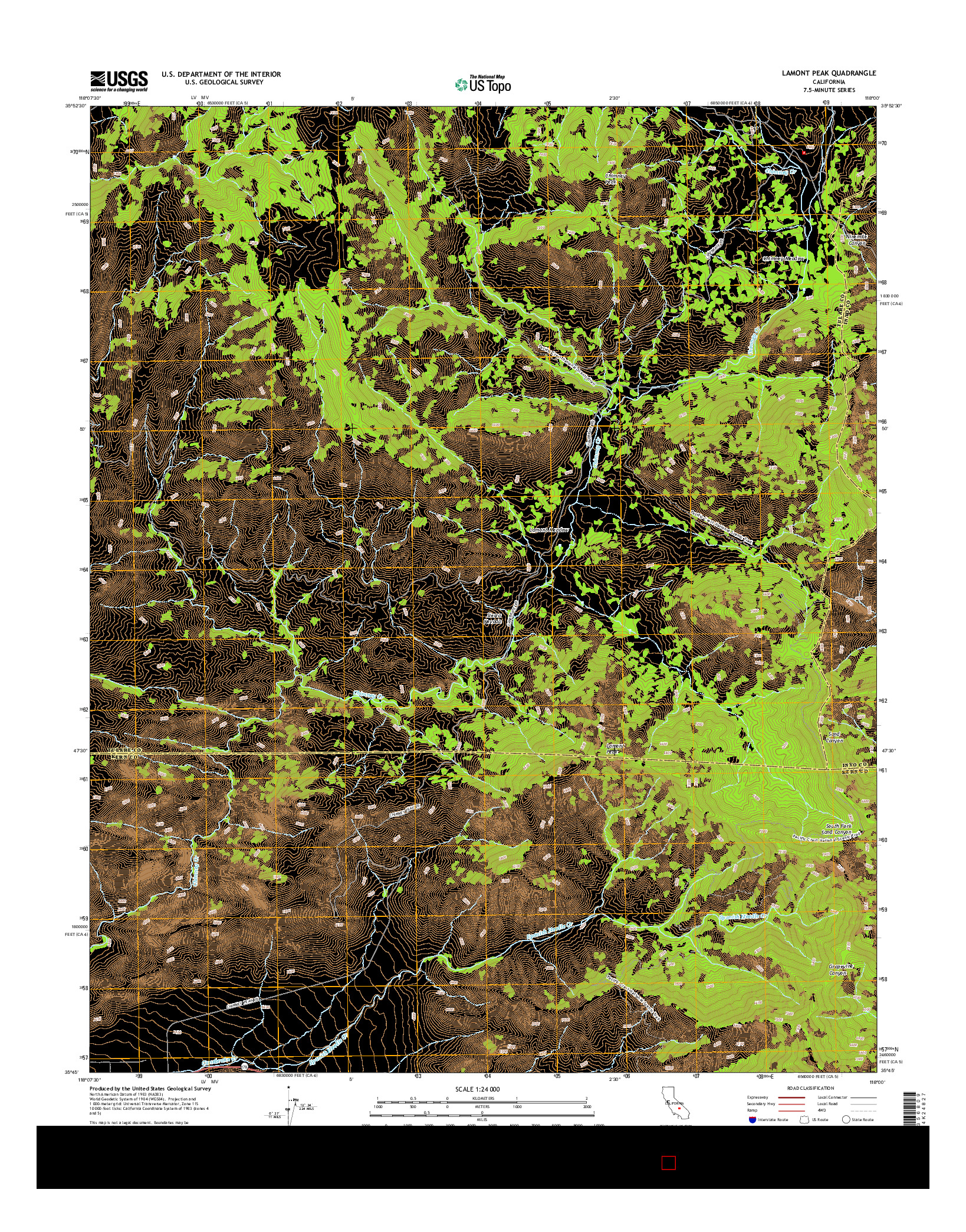 USGS US TOPO 7.5-MINUTE MAP FOR LAMONT PEAK, CA 2015