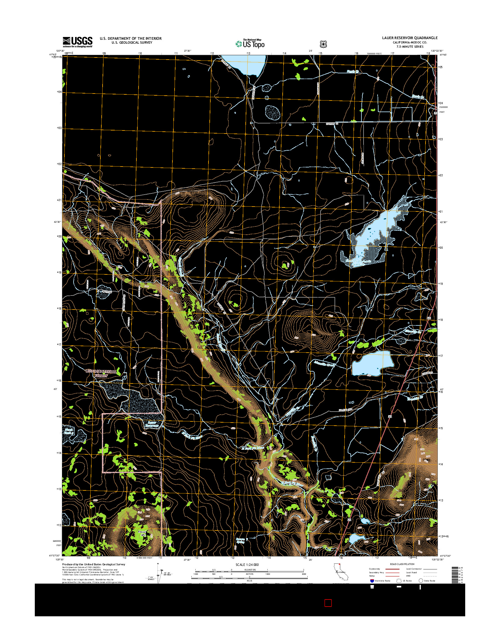 USGS US TOPO 7.5-MINUTE MAP FOR LAUER RESERVOIR, CA 2015