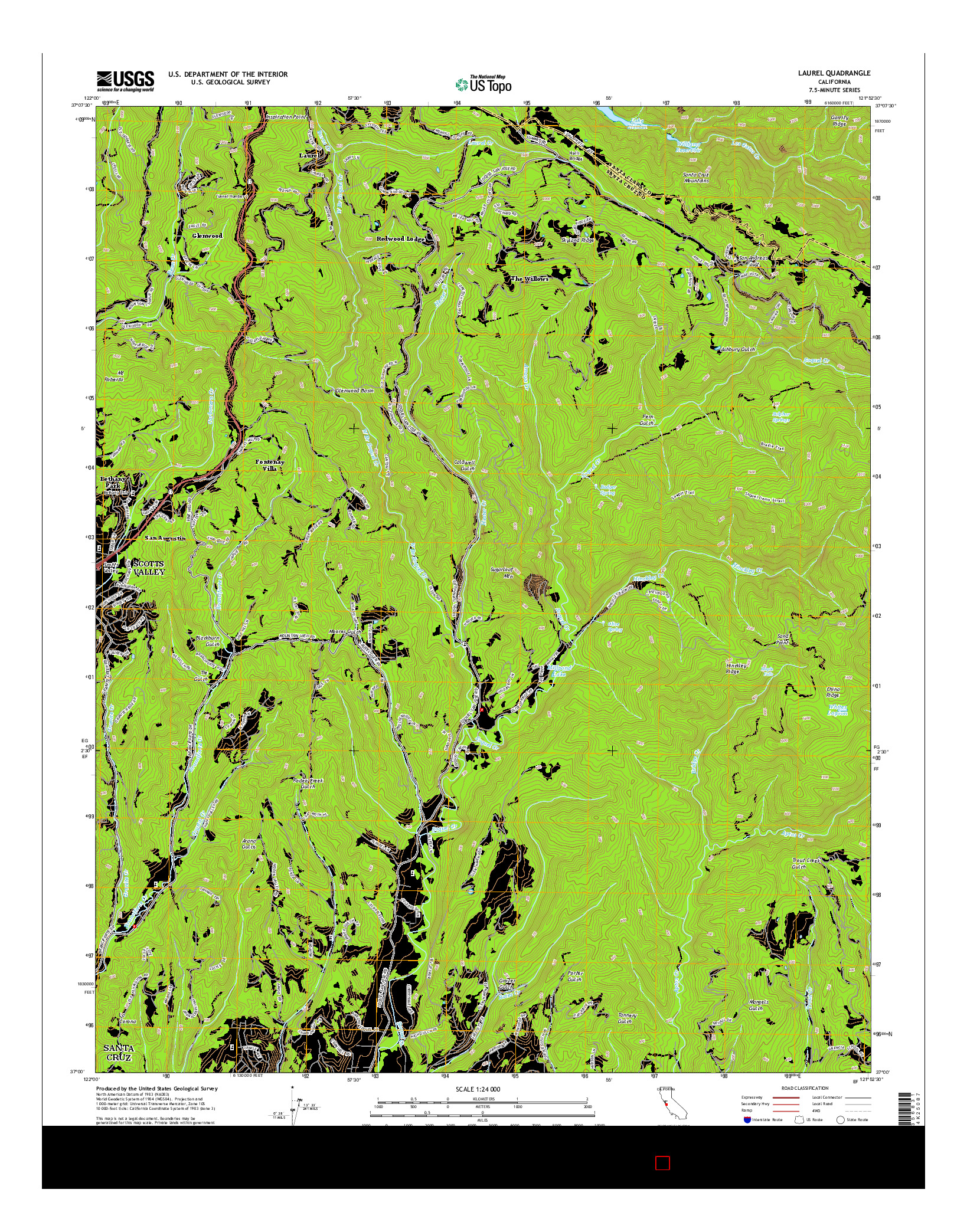 USGS US TOPO 7.5-MINUTE MAP FOR LAUREL, CA 2015