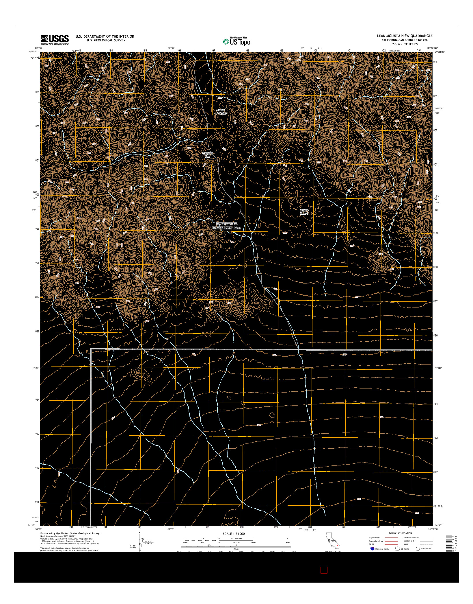 USGS US TOPO 7.5-MINUTE MAP FOR LEAD MOUNTAIN SW, CA 2015