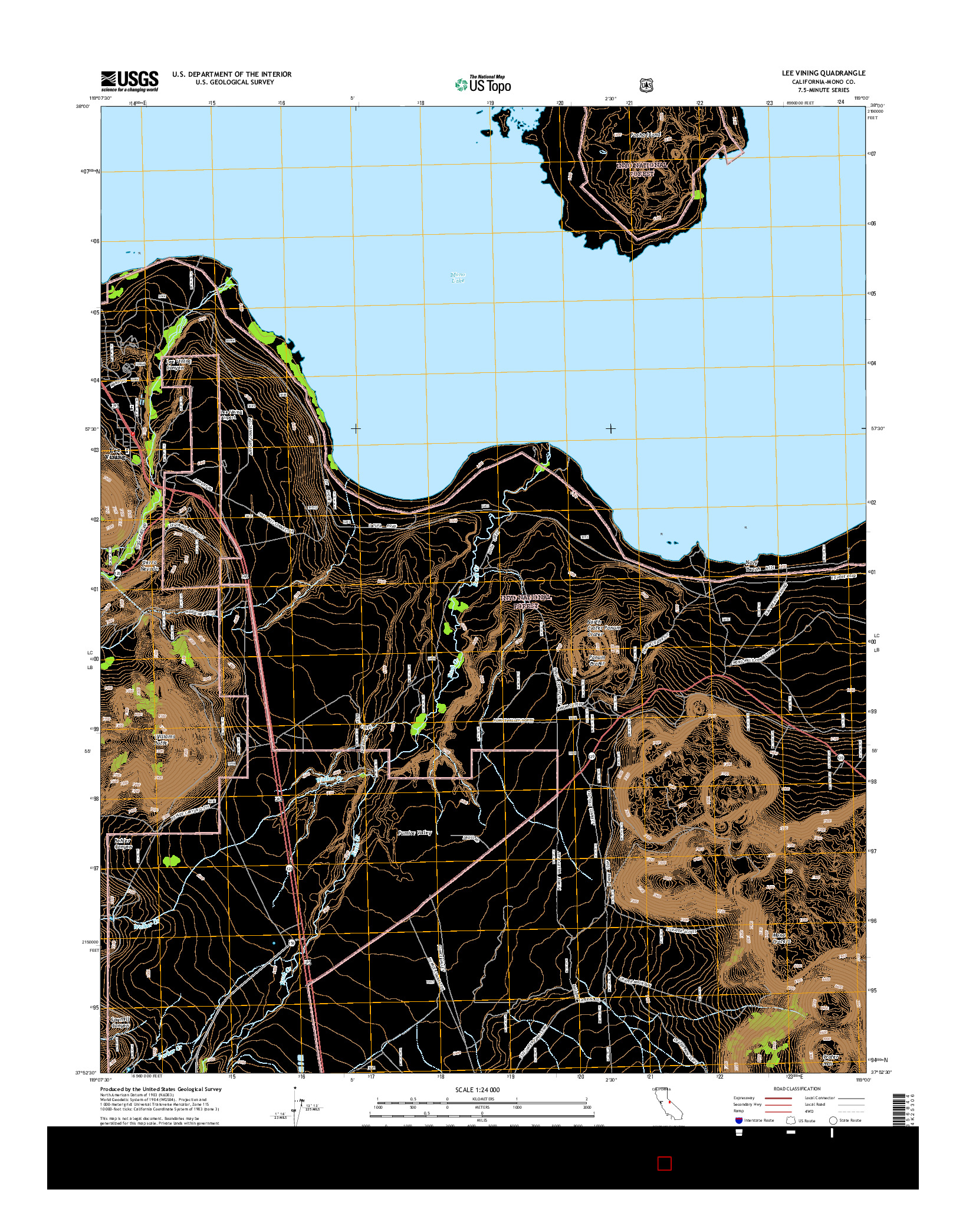 USGS US TOPO 7.5-MINUTE MAP FOR LEE VINING, CA 2015