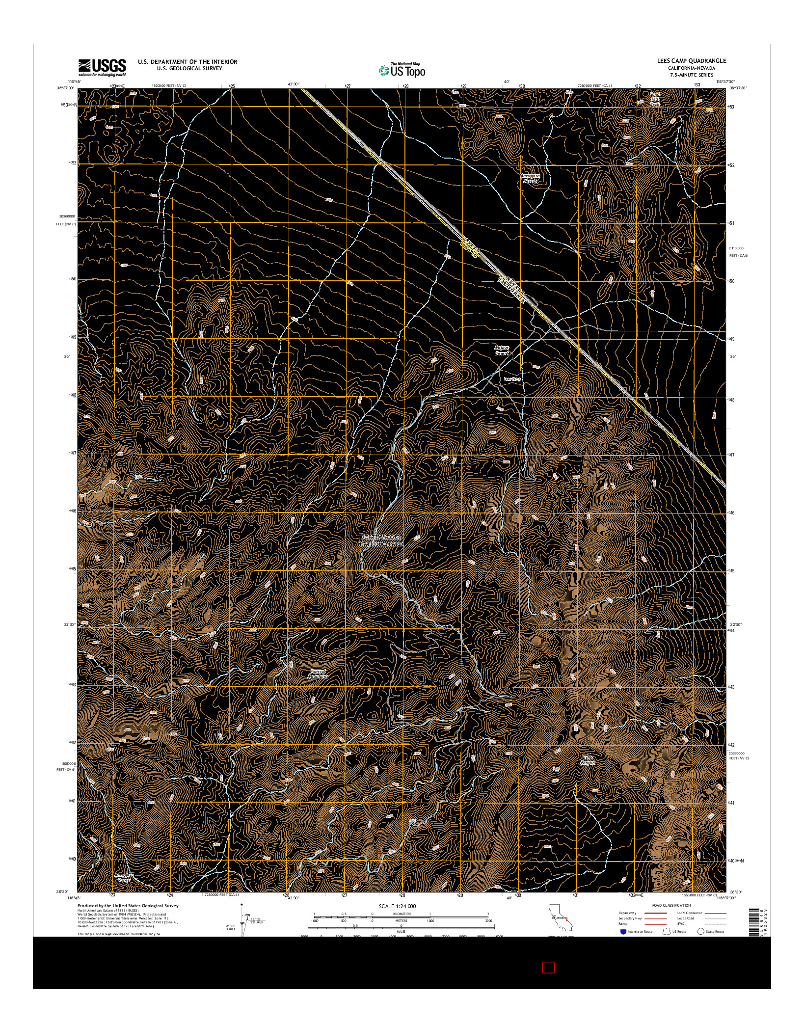 USGS US TOPO 7.5-MINUTE MAP FOR LEES CAMP, CA-NV 2015