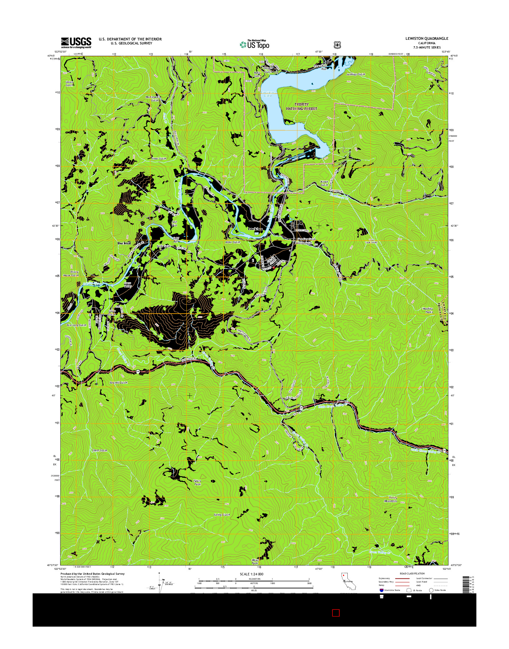 USGS US TOPO 7.5-MINUTE MAP FOR LEWISTON, CA 2015