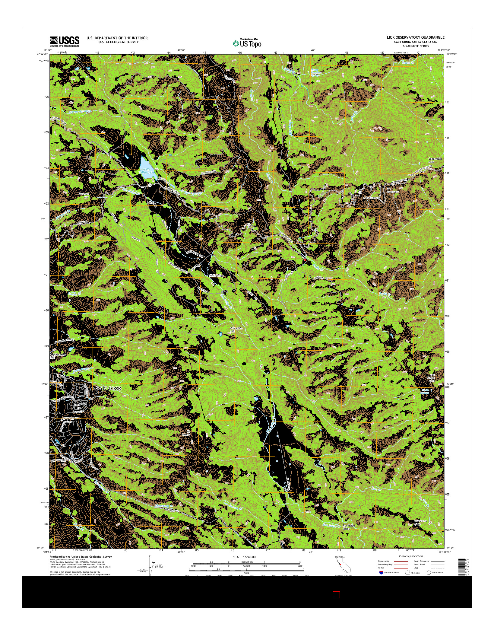 USGS US TOPO 7.5-MINUTE MAP FOR LICK OBSERVATORY, CA 2015