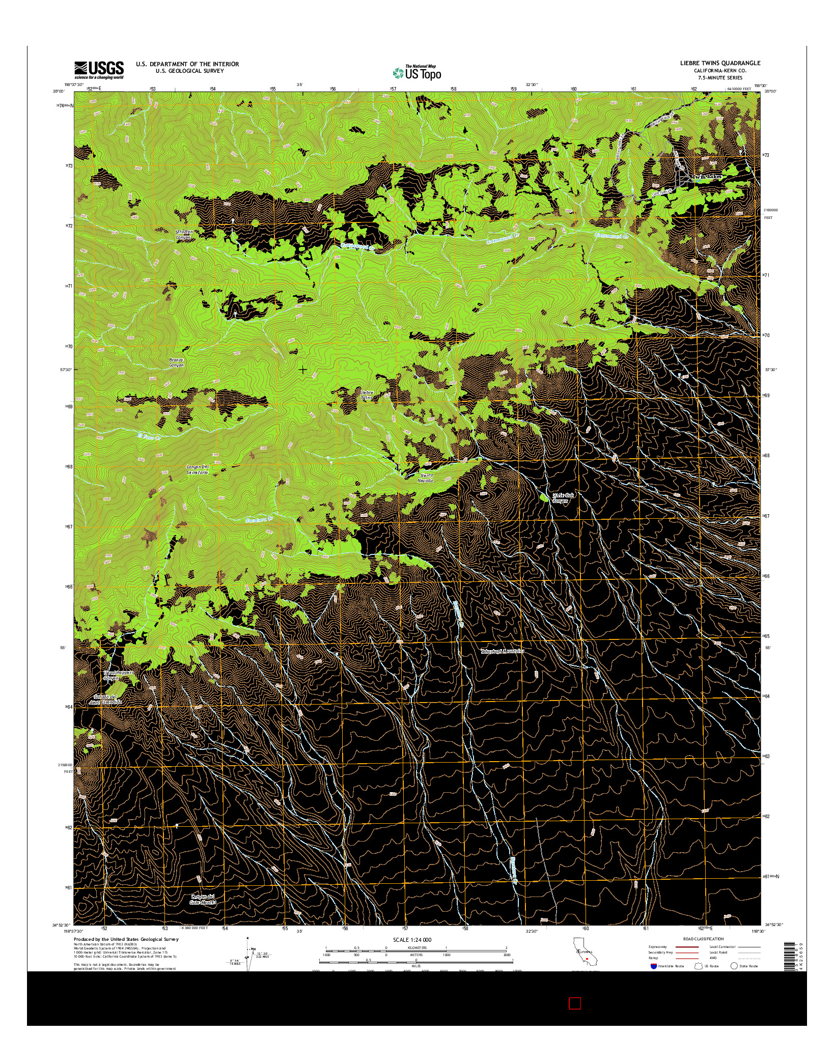USGS US TOPO 7.5-MINUTE MAP FOR LIEBRE TWINS, CA 2015