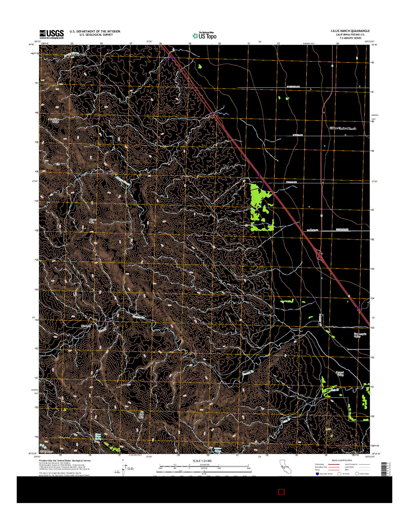 USGS US TOPO 7.5-MINUTE MAP FOR LILLIS RANCH, CA 2015