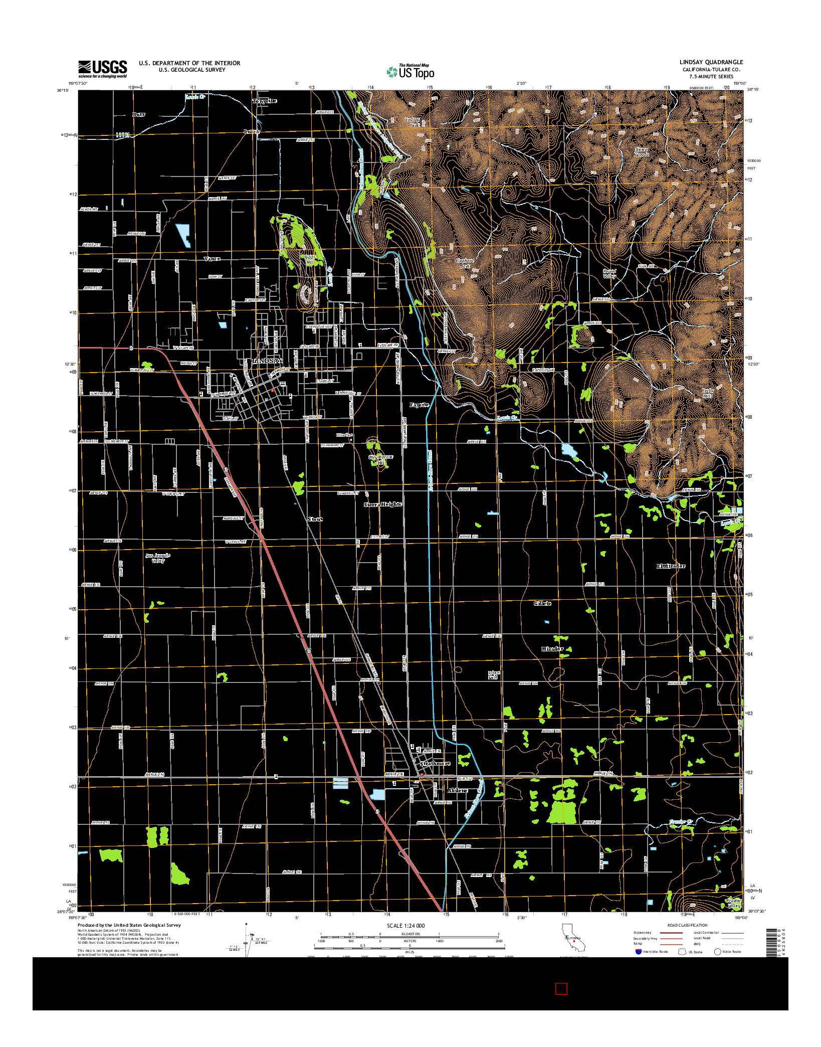 USGS US TOPO 7.5-MINUTE MAP FOR LINDSAY, CA 2015