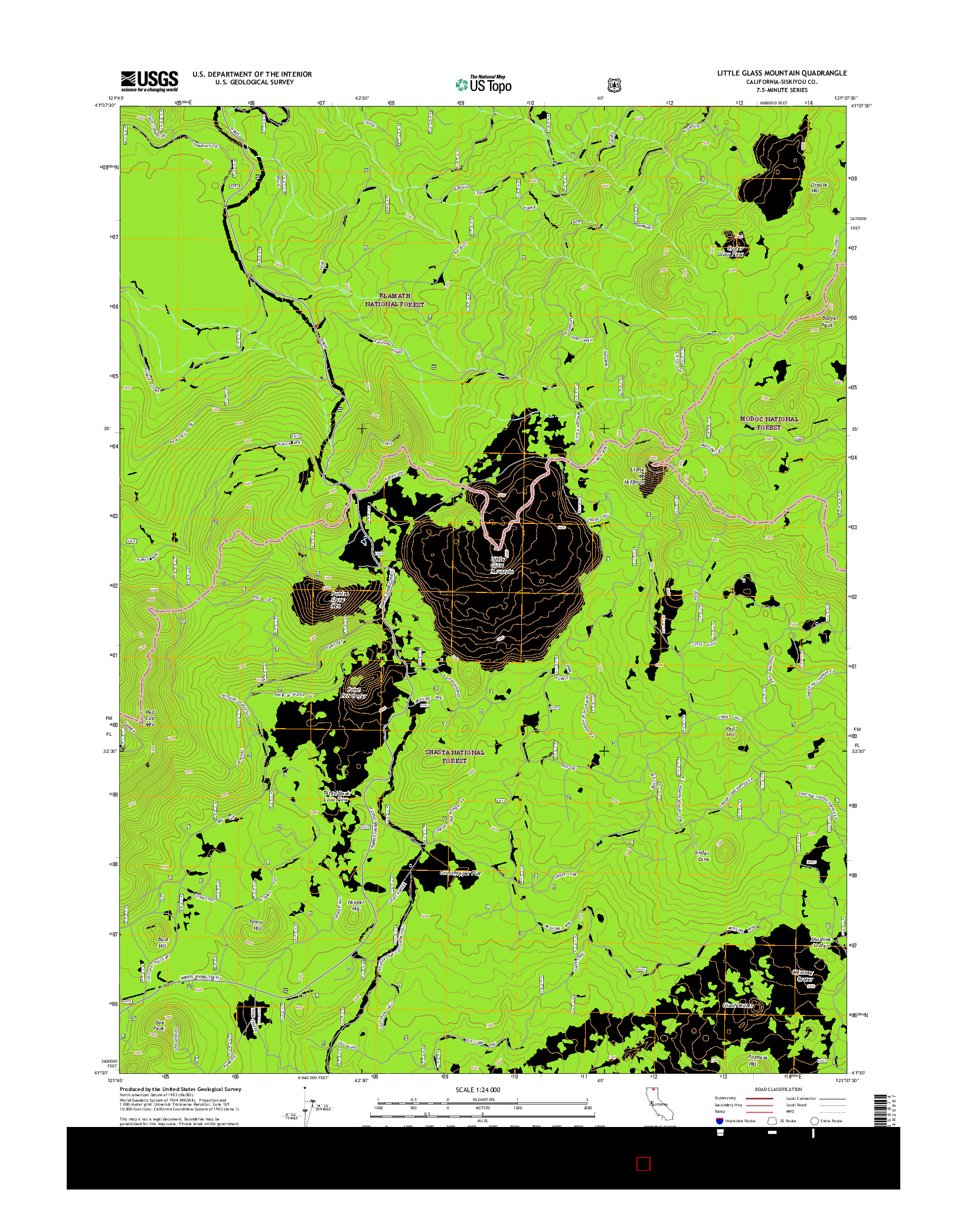 USGS US TOPO 7.5-MINUTE MAP FOR LITTLE GLASS MOUNTAIN, CA 2015