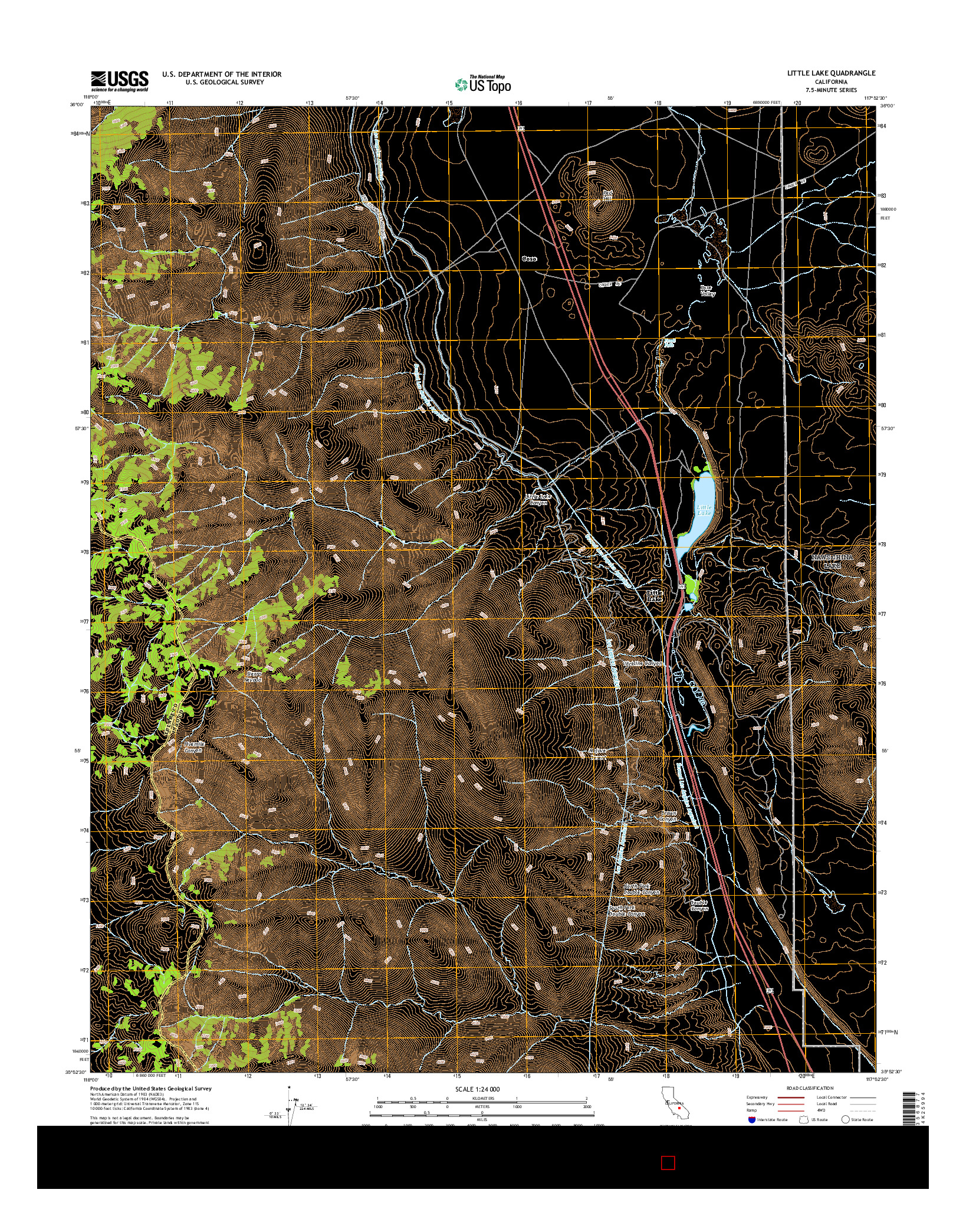 USGS US TOPO 7.5-MINUTE MAP FOR LITTLE LAKE, CA 2015