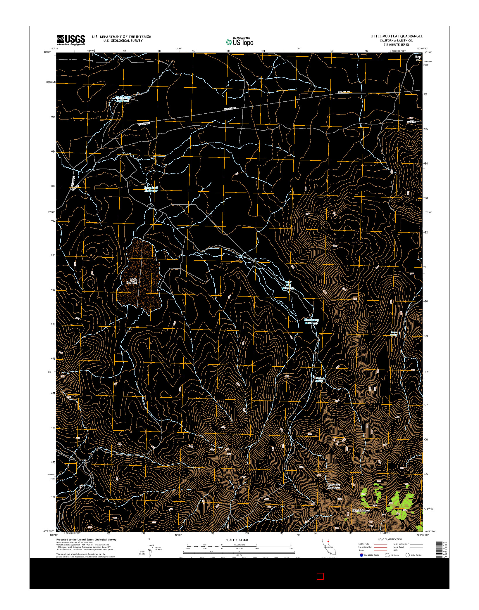 USGS US TOPO 7.5-MINUTE MAP FOR LITTLE MUD FLAT, CA 2015